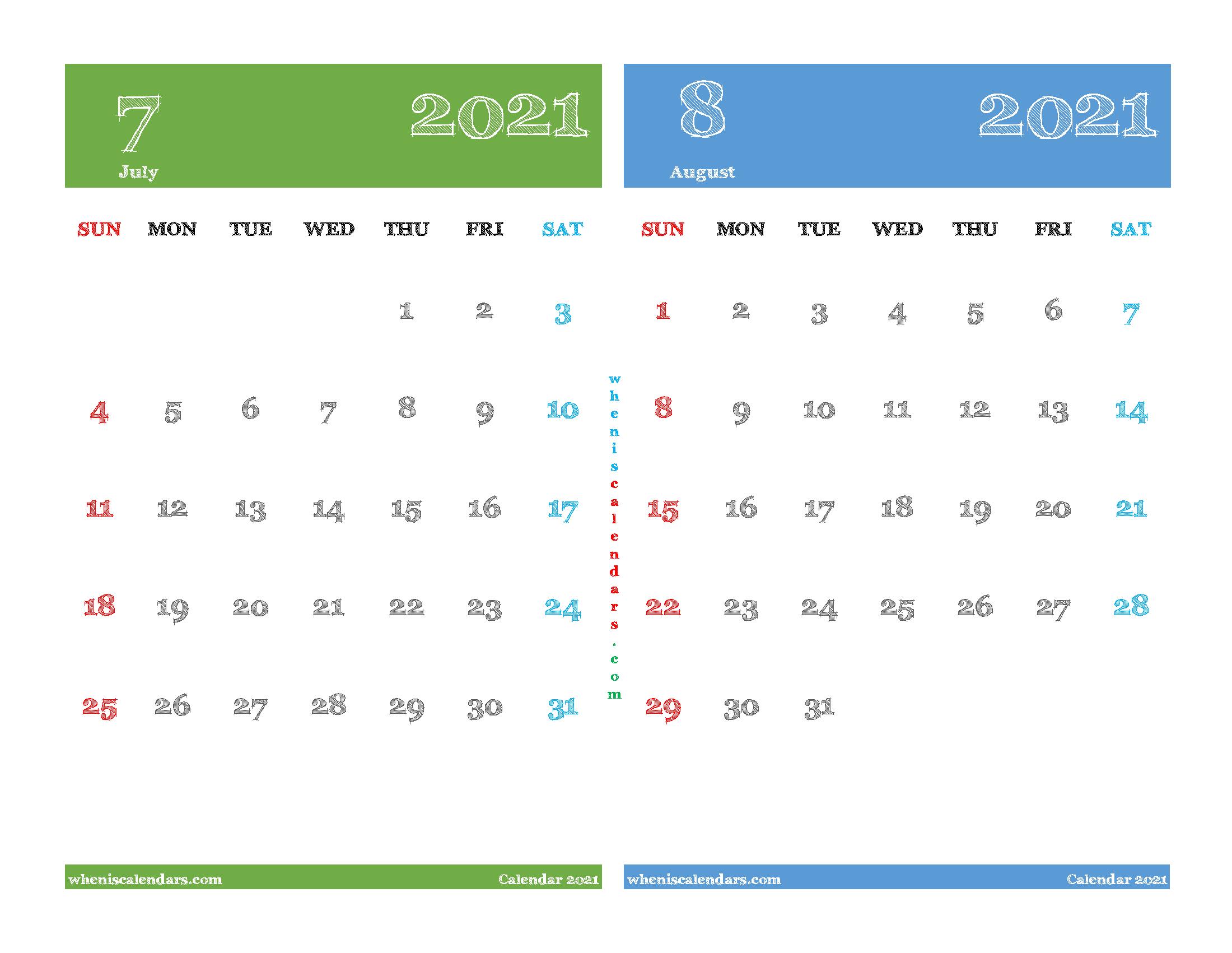 Printable July August 2021 Calendar