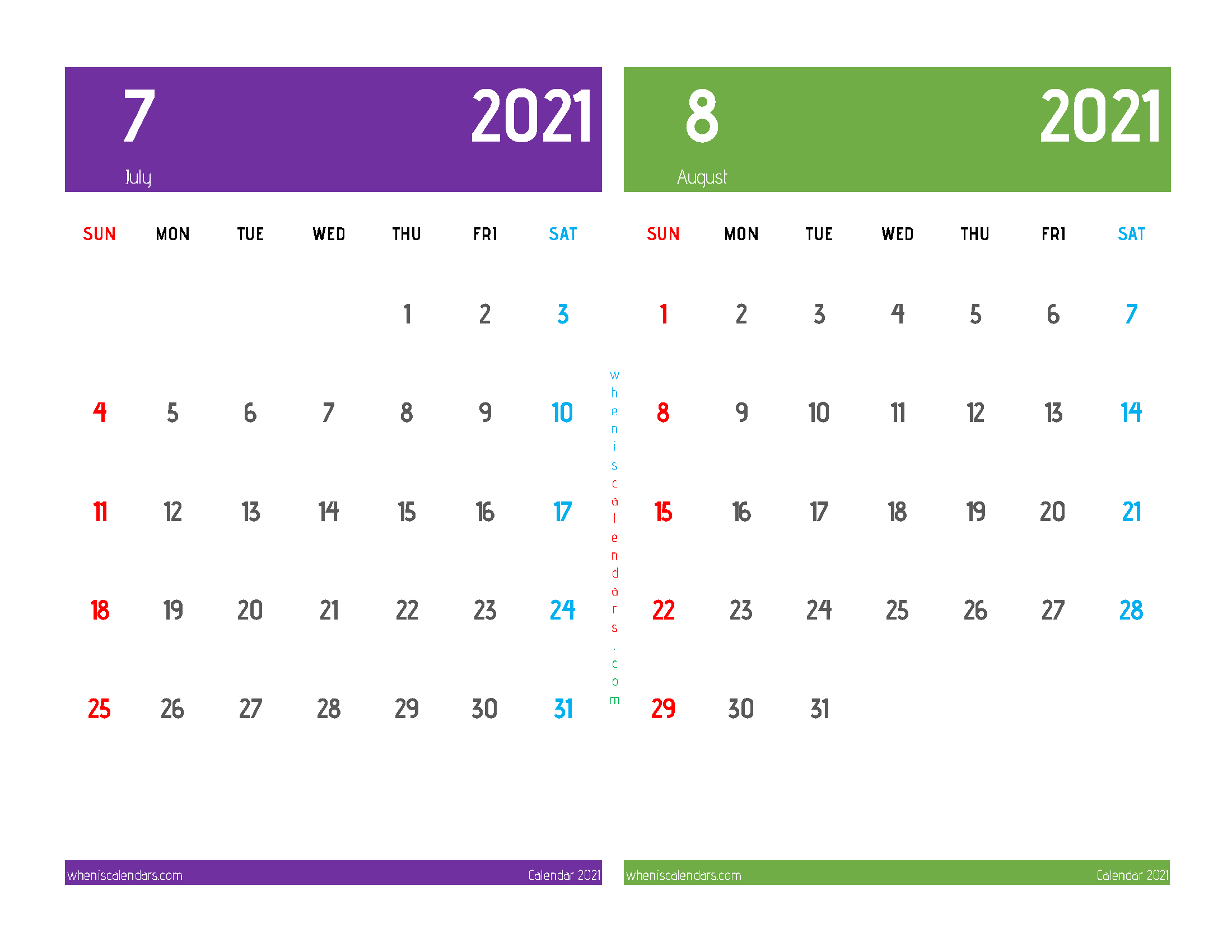 Free July and August 2021 Calendar Printable