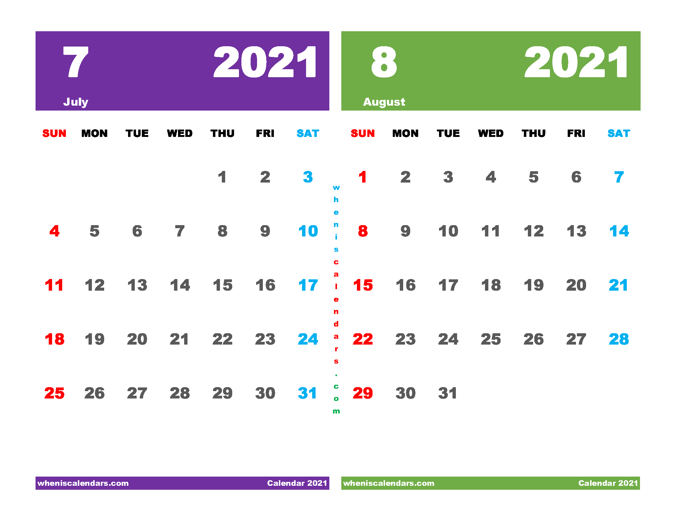 Printable Calendar 2021 July August