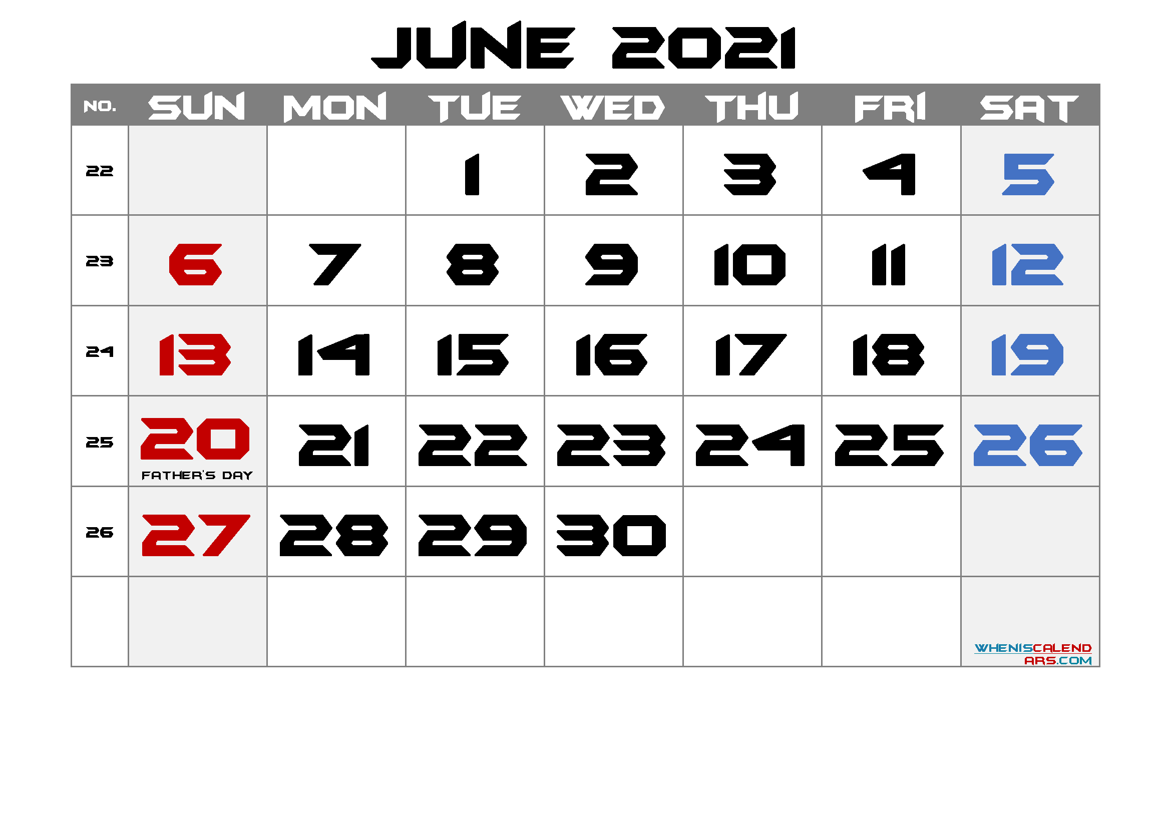 free printable june 2021 calendar with holidays