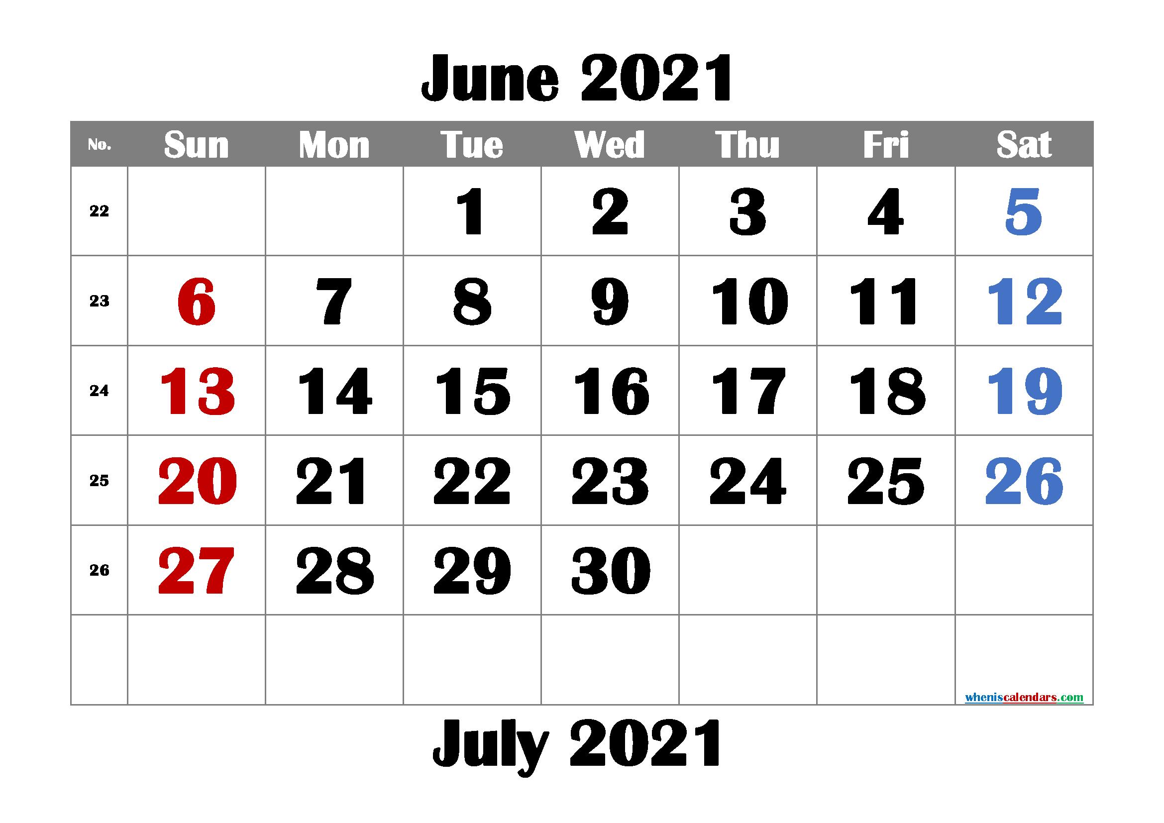 free printable june 2021 calendar with week numbers