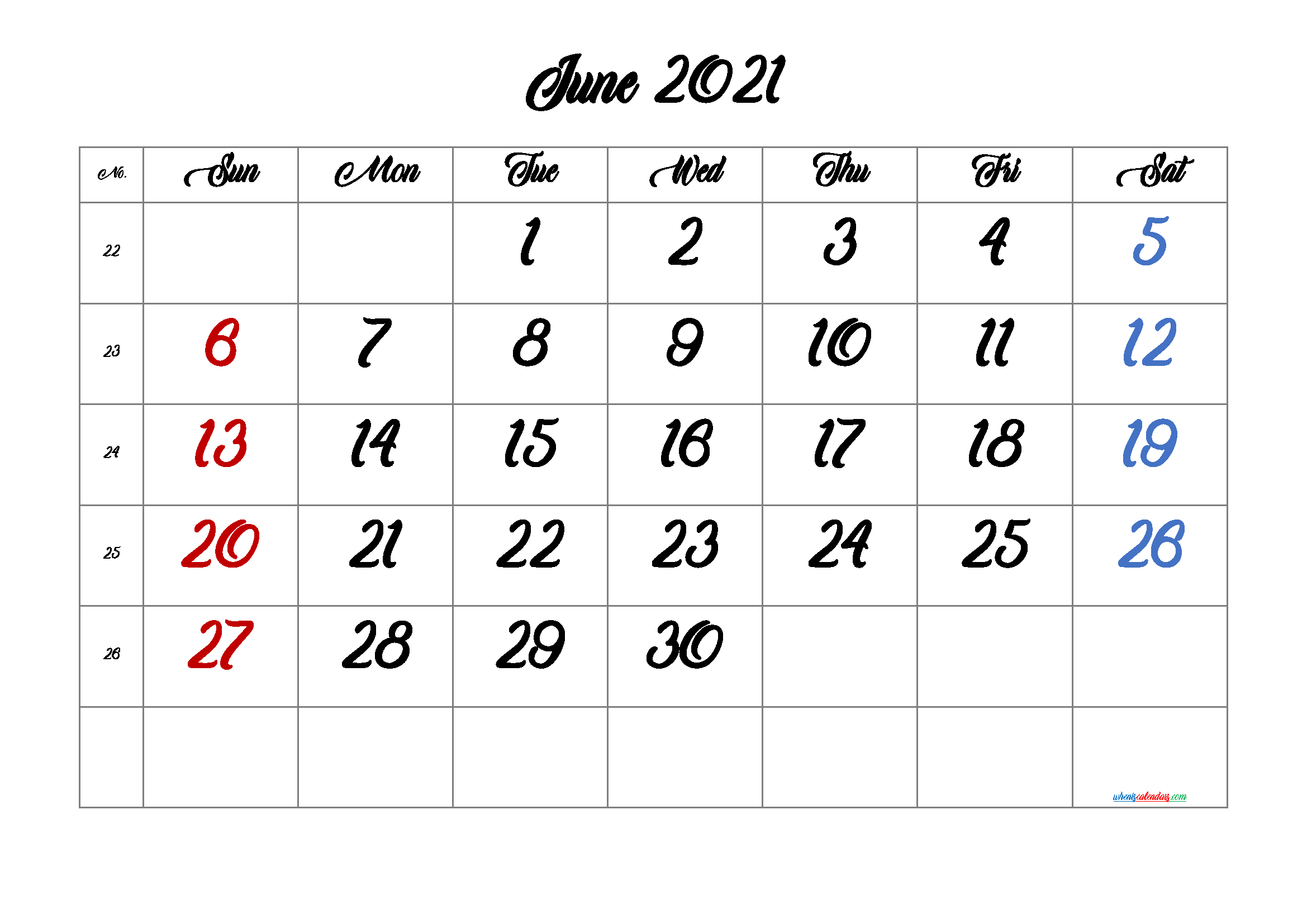 Printable Calendar for June 2021