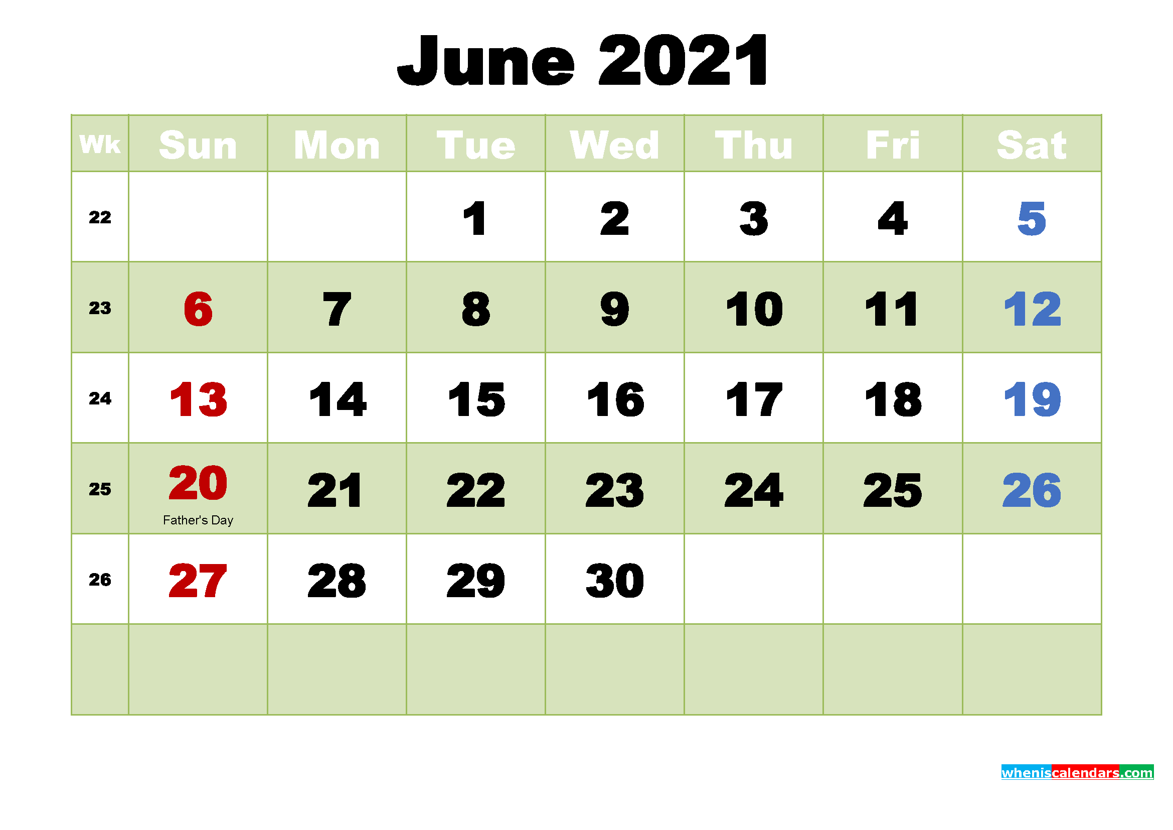 free printable calendar for june 2021