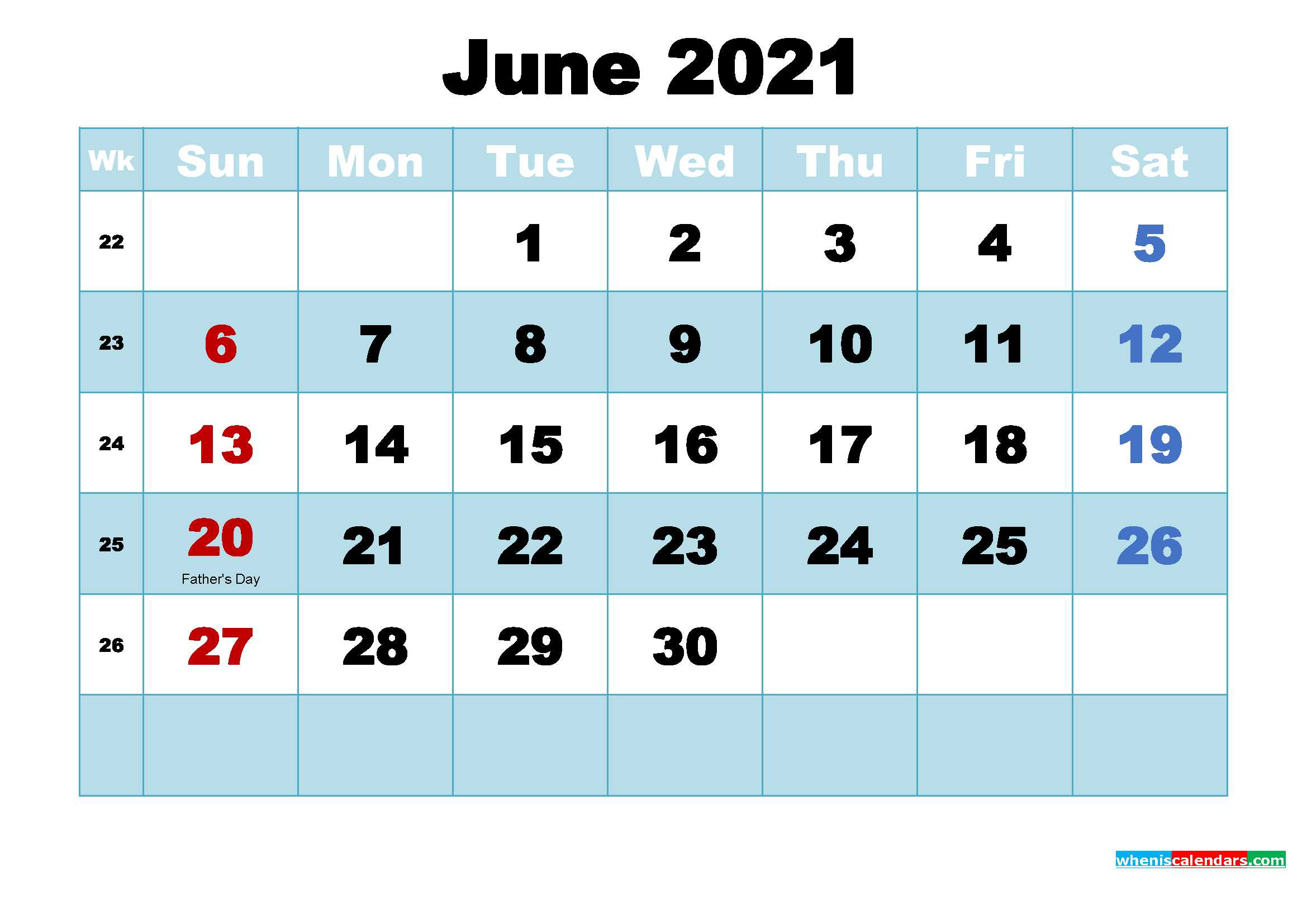 free printable calendar for june 2021 with holidays