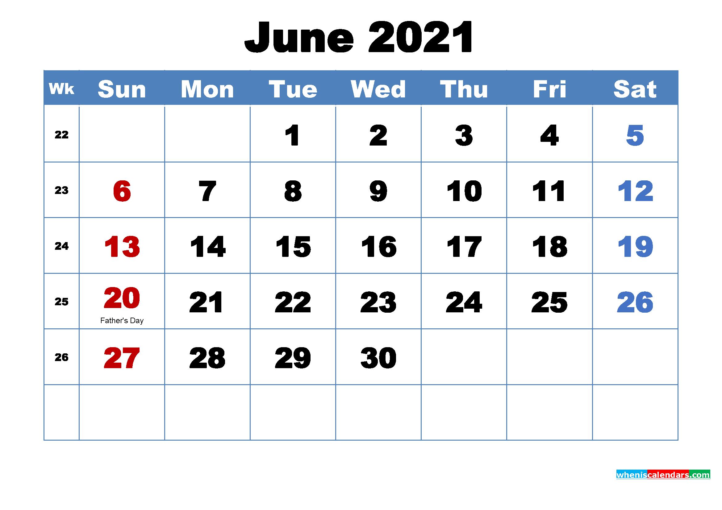 free printable june 2021 calendar with holidays