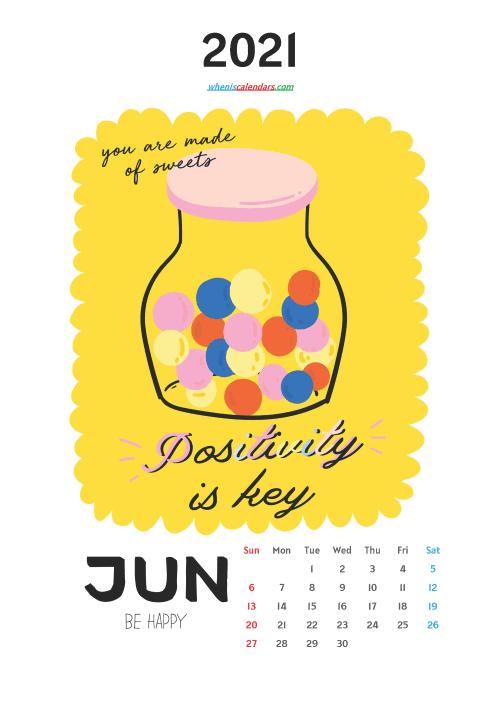 free printable june 2021 calendar cute. awesome free cute printable calendar 2021 for kids