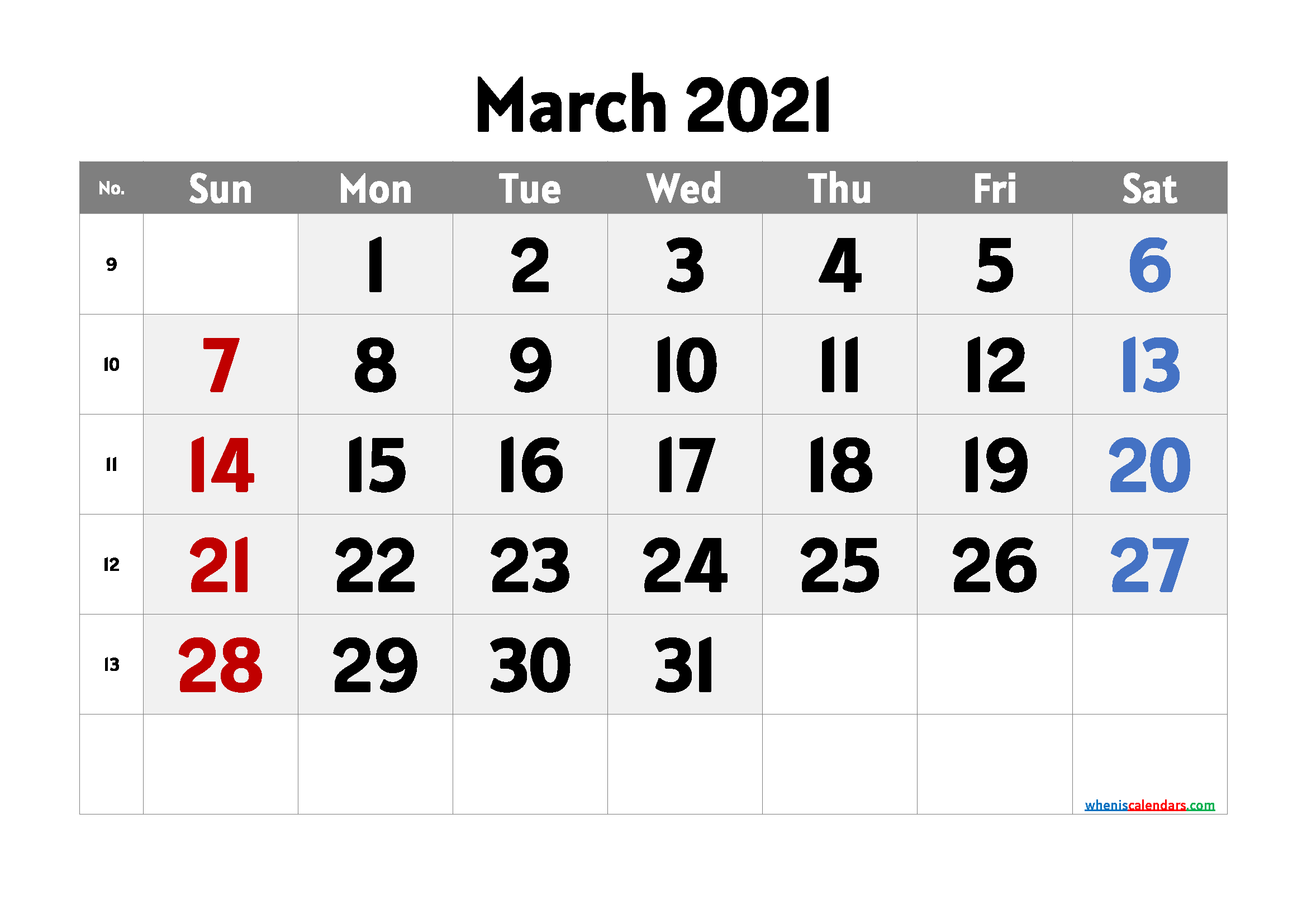 free printable march 2021 calendar with week numbers