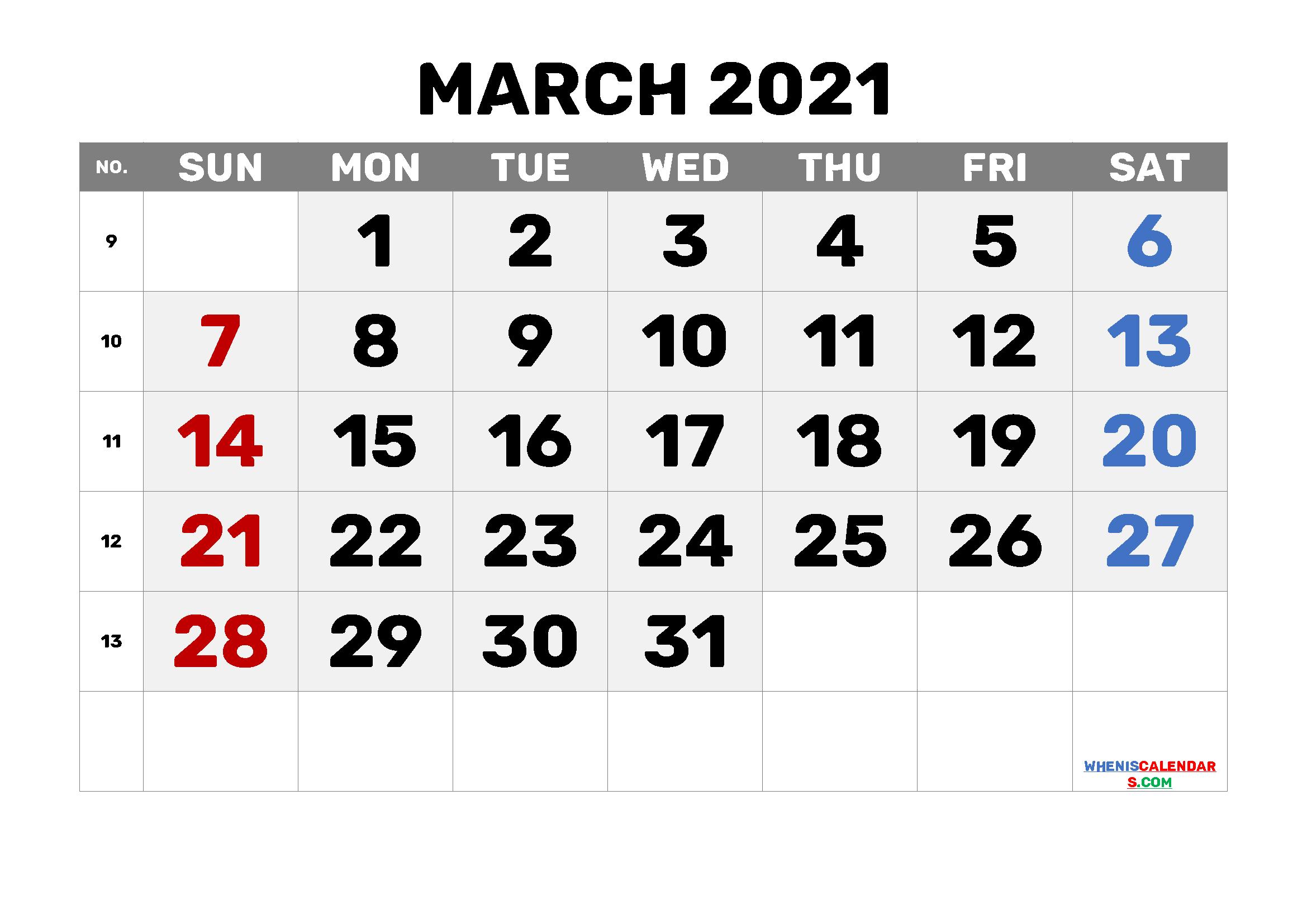 free printable march 2021 calendar with week numbers