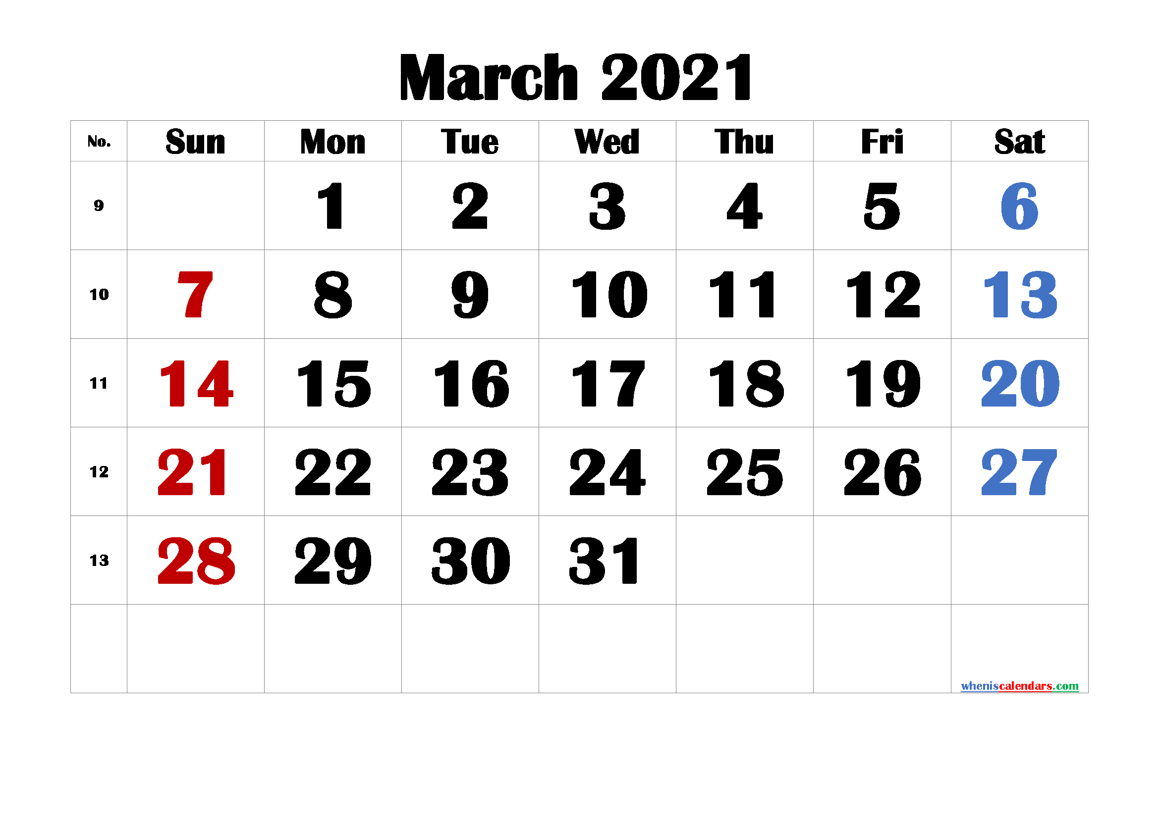 Printable Calendar for March 2021