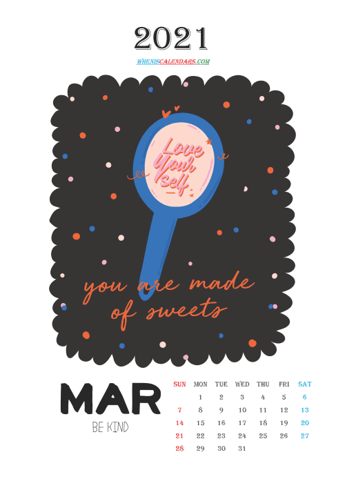 free printable march 2021 calendar cute. awesome free printable 2021 calendar for kids