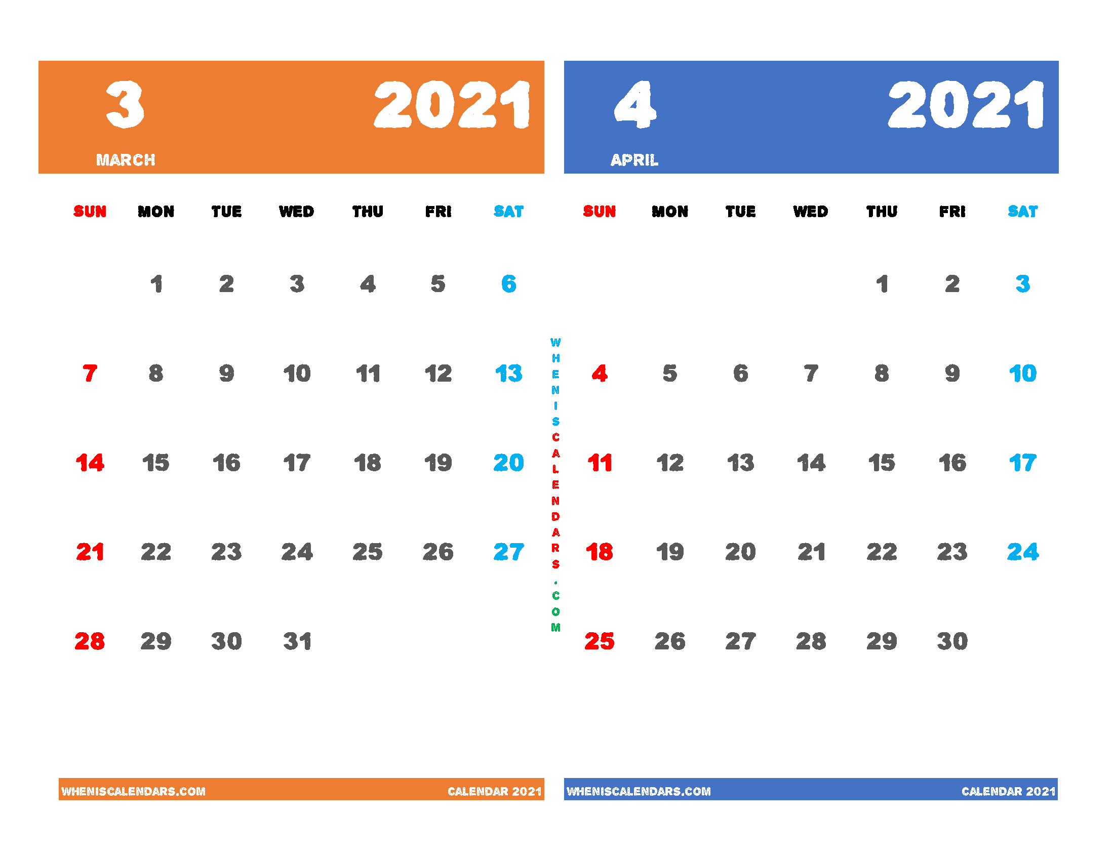 Printable Calendar 2021 March and April