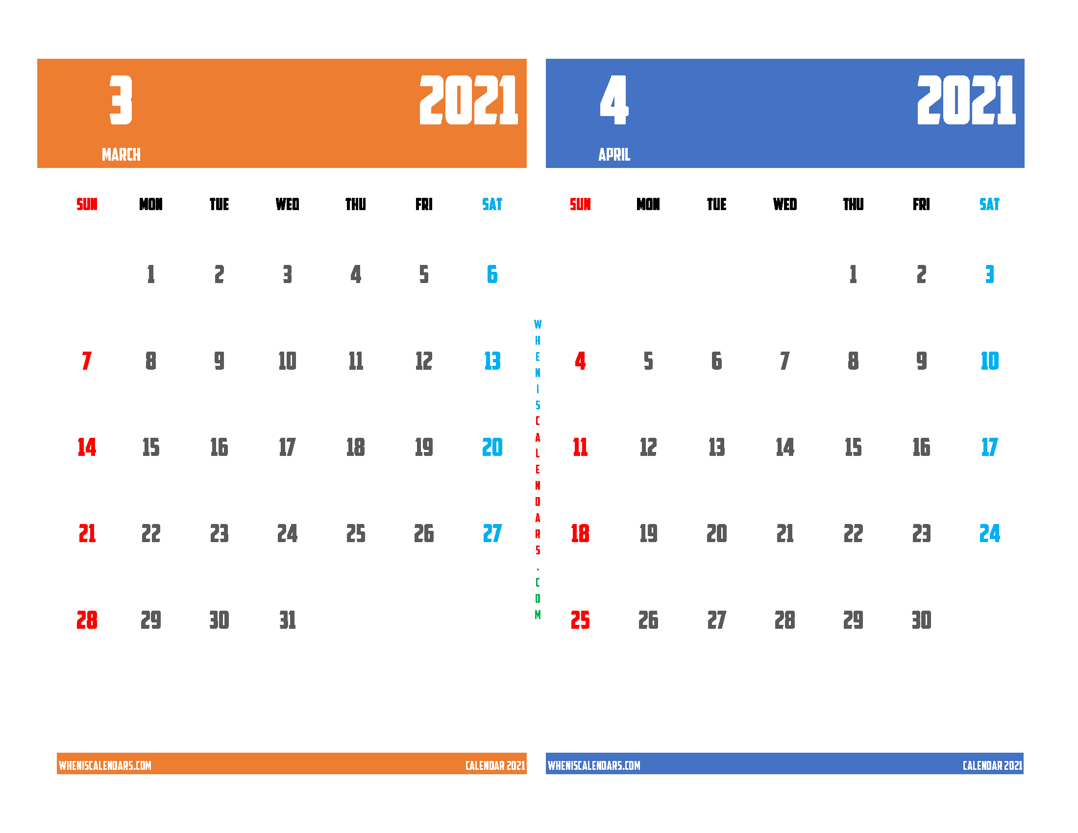 Free March and April 2021 Calendar Printable