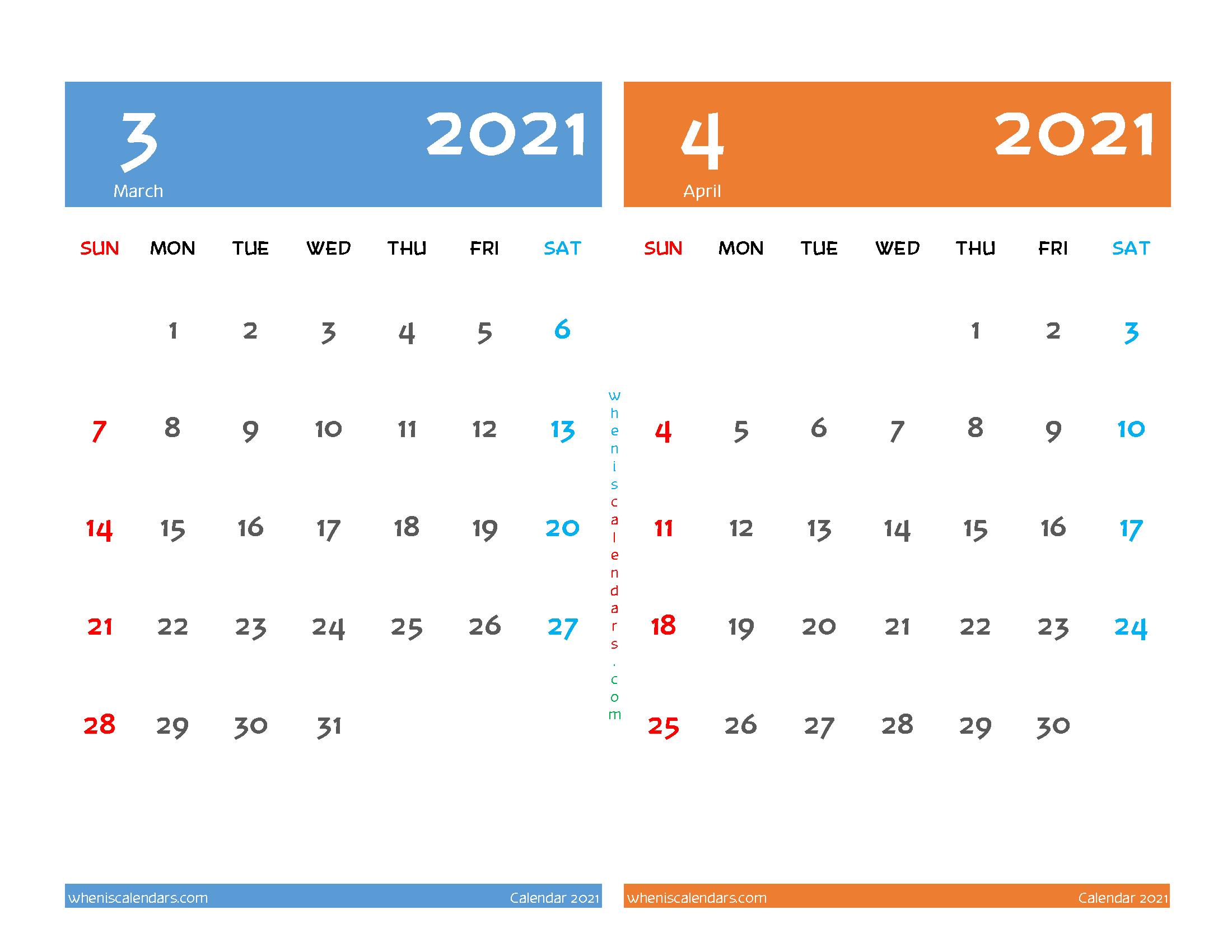 March and April 2021 Calendar Printable