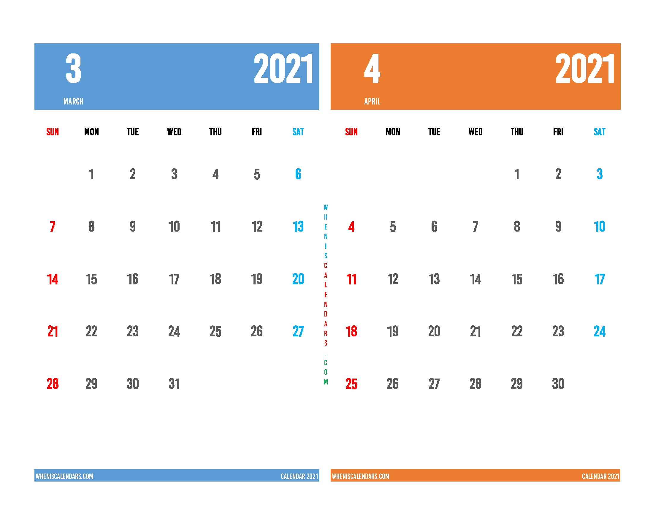 Printable March and April 2021 Calendar