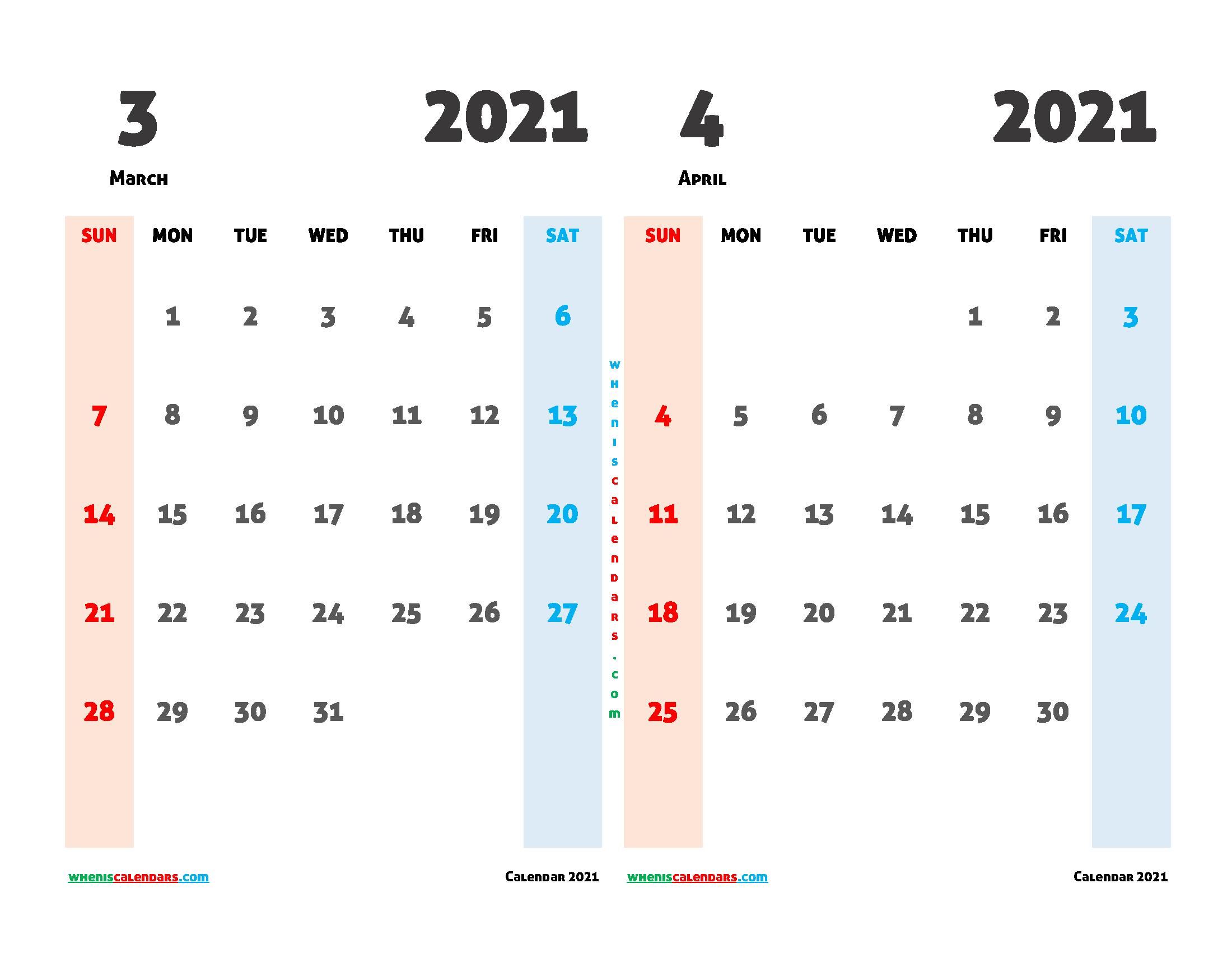 Printable Calendar March April 2021