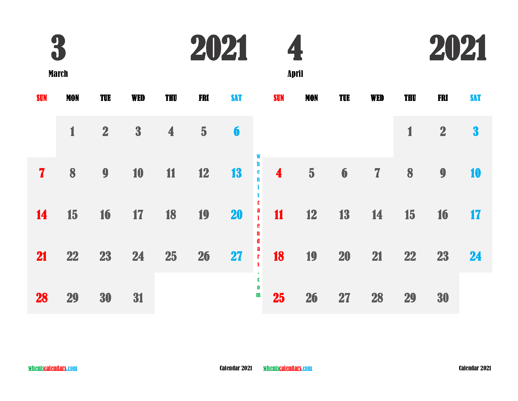 Free March and April 2021 Printable Calendar