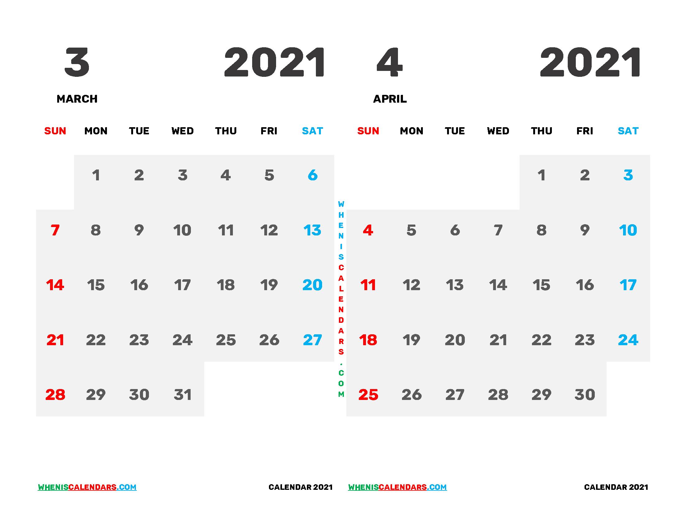 March April 2021 Calendar Printable