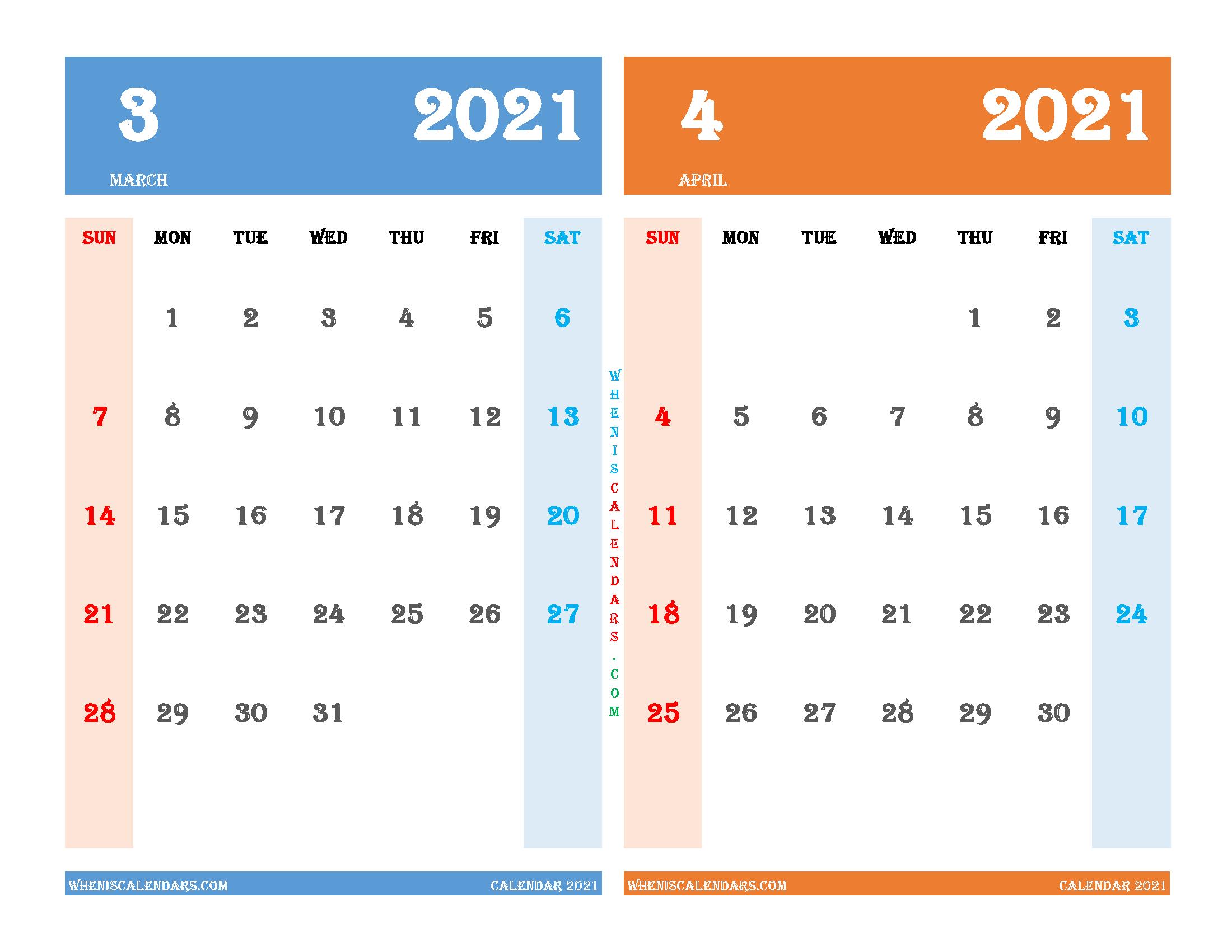 Free March April 2021 Calendar Printable