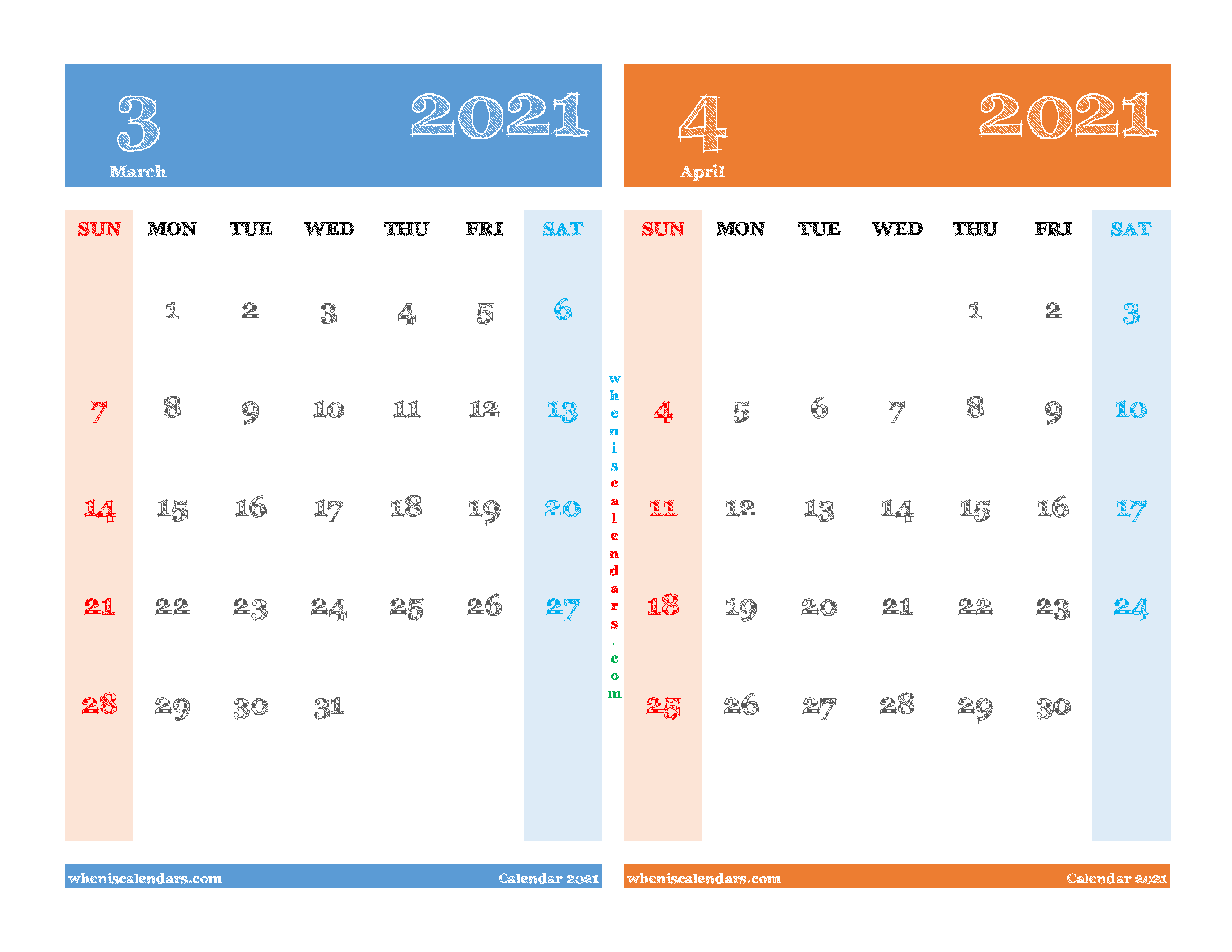 Printable March and April 2021 Calendar