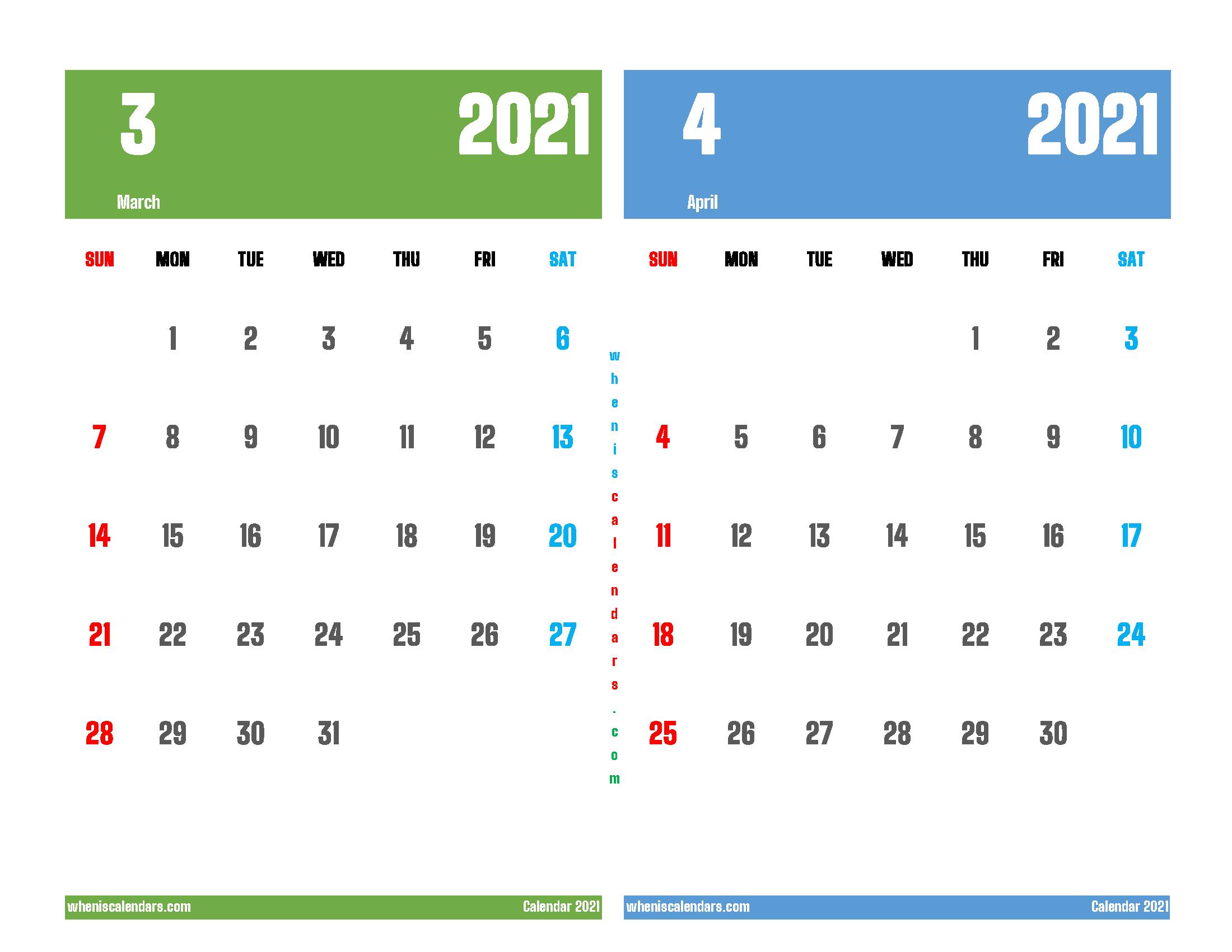 Printable March April 2021 Calendar