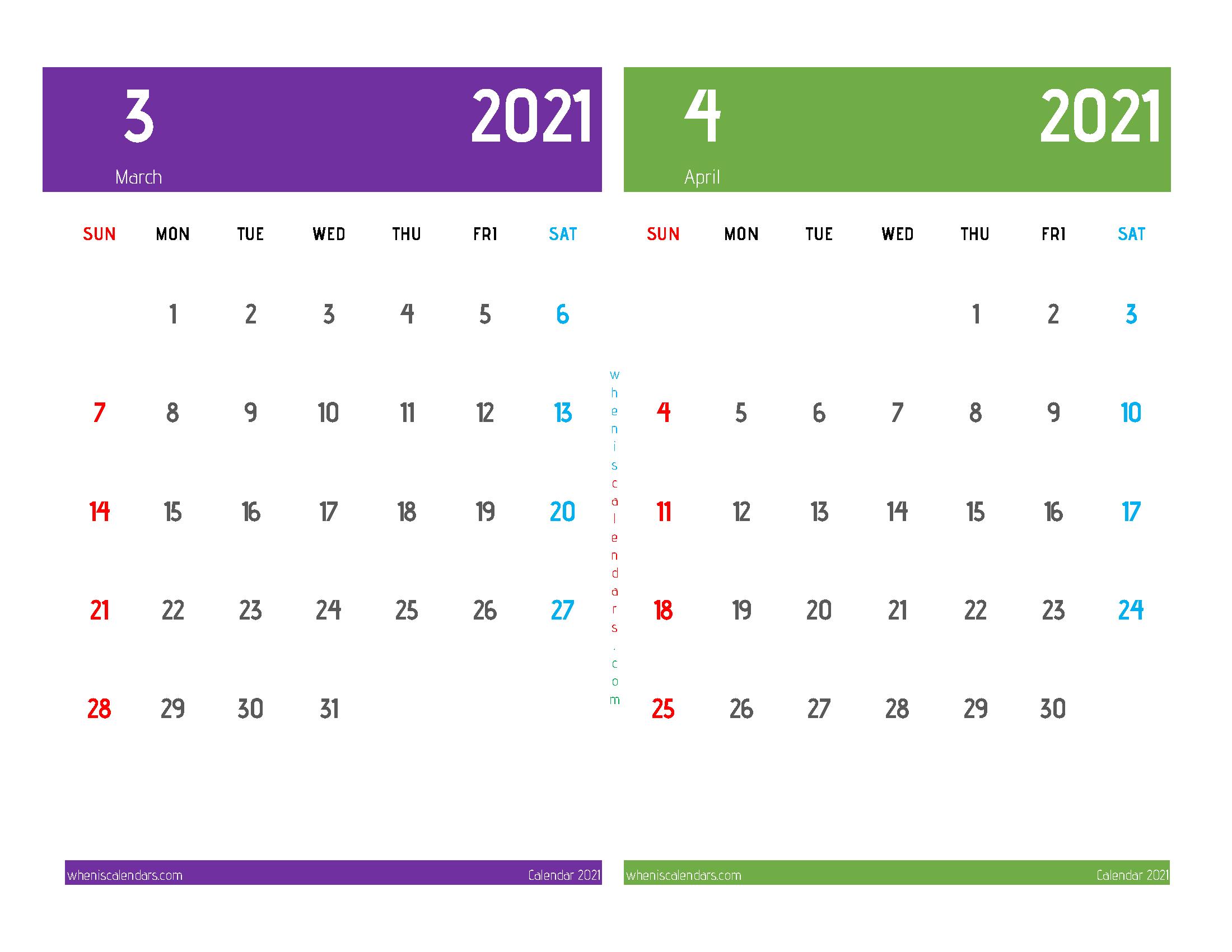 Free March April 2021 Printable Calendar