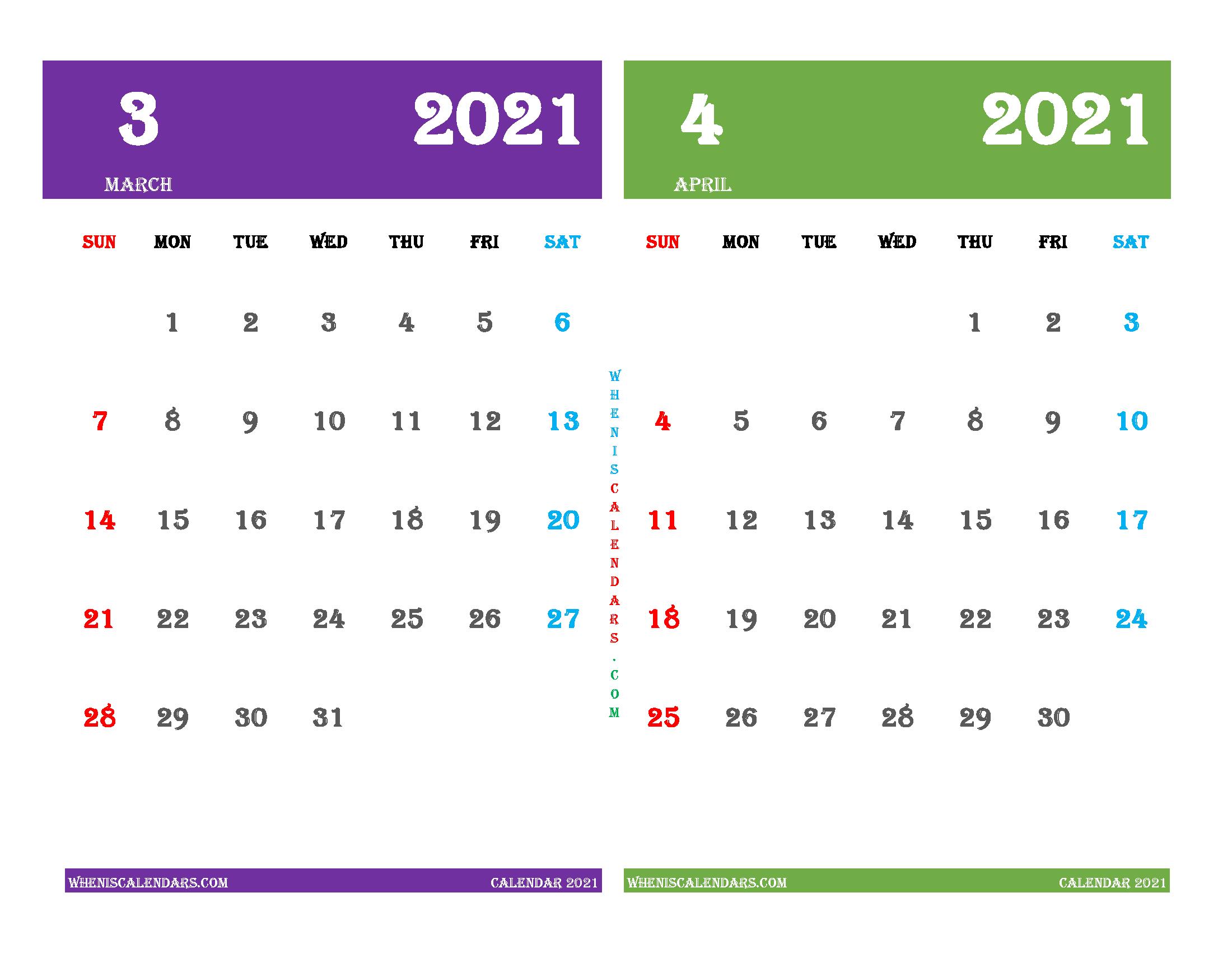 March April 2021 Calendar Printable Free