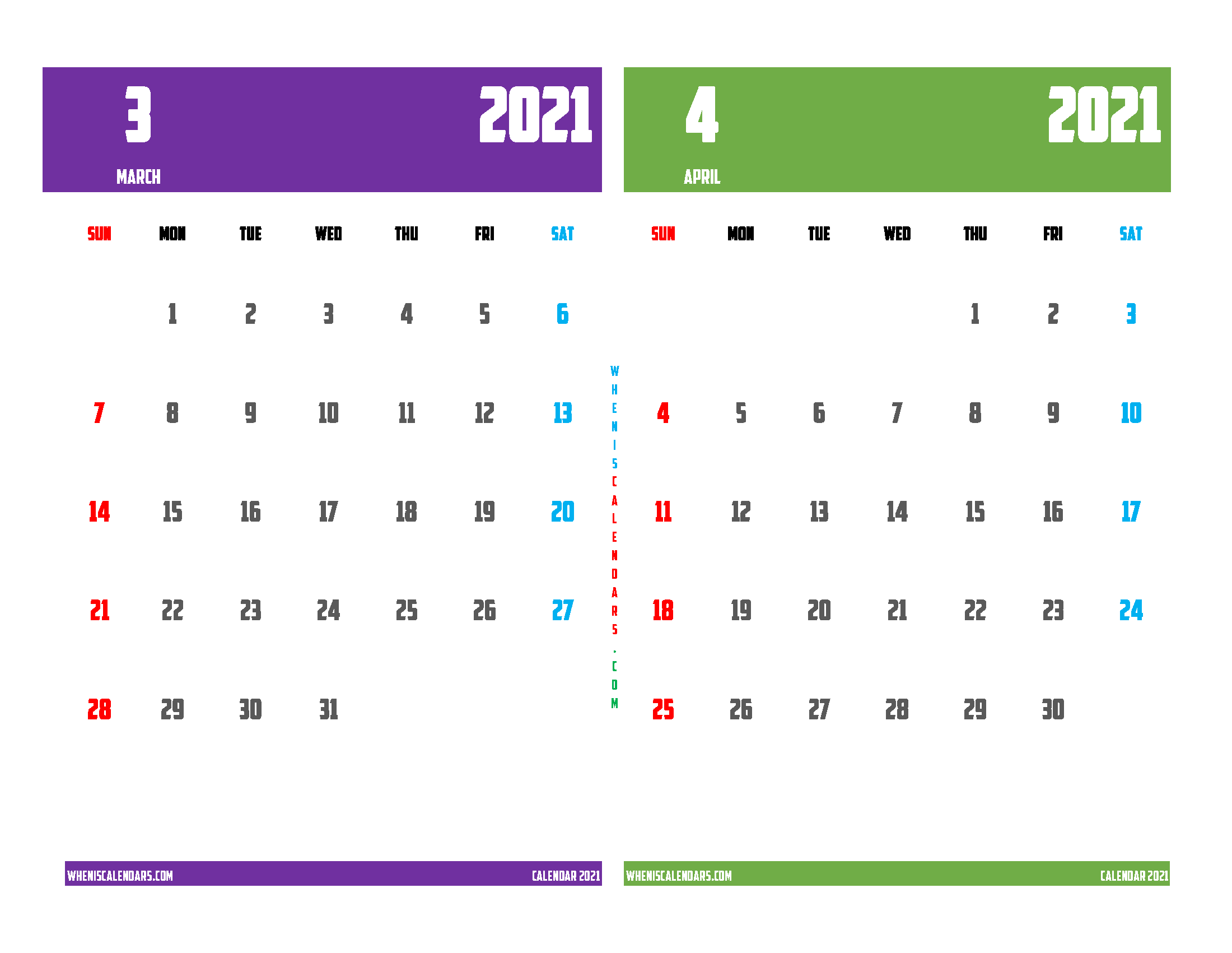 Printable Calendar March and April 2021