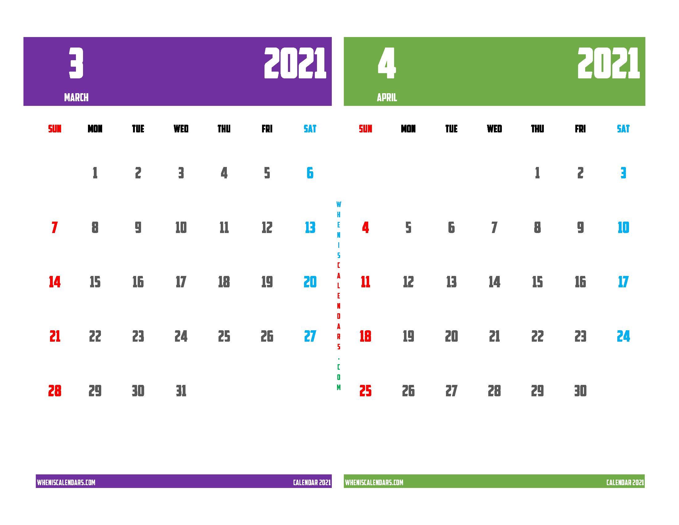 Printable Calendar March and April 2021