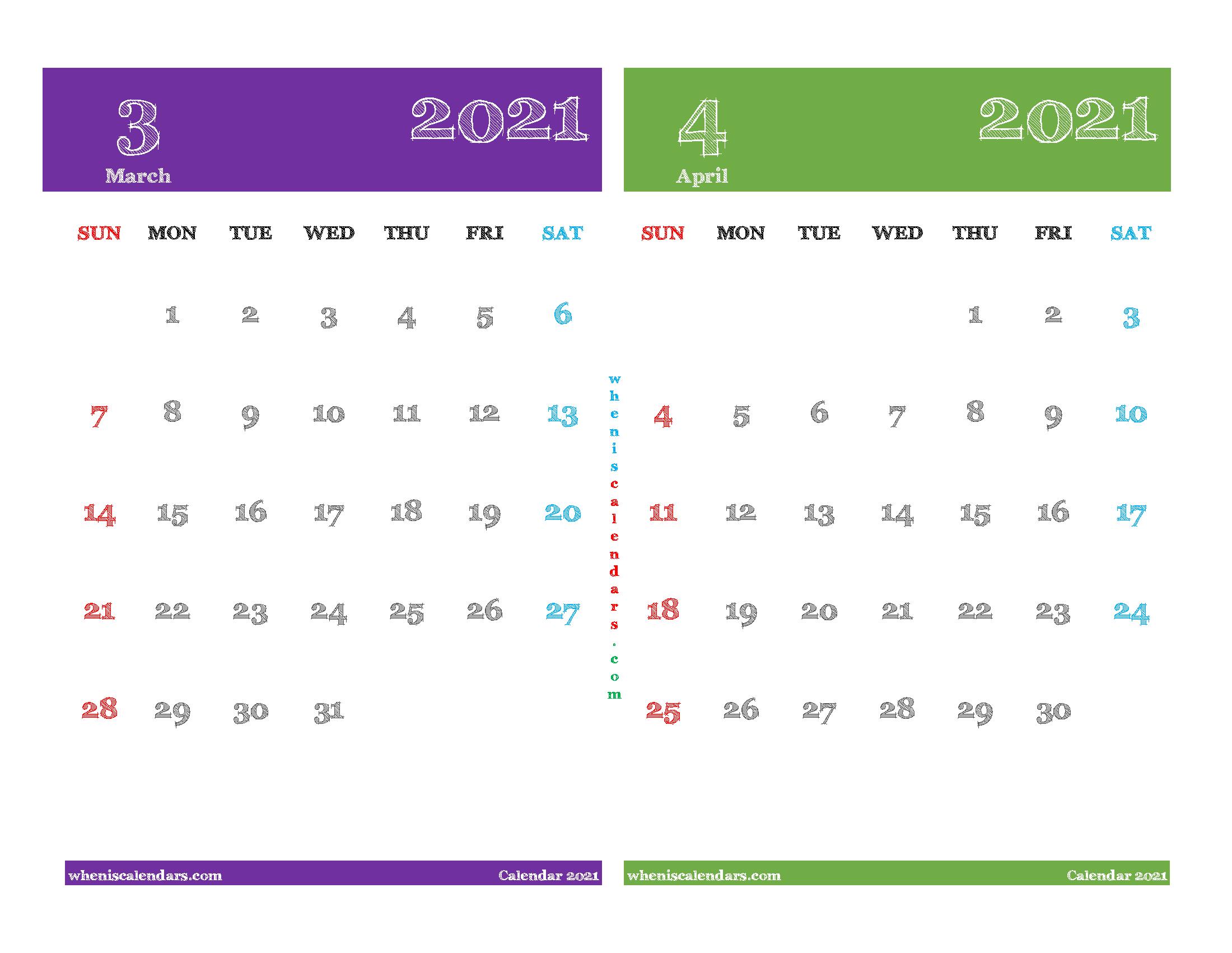 Printable Calendar 2021 March and April