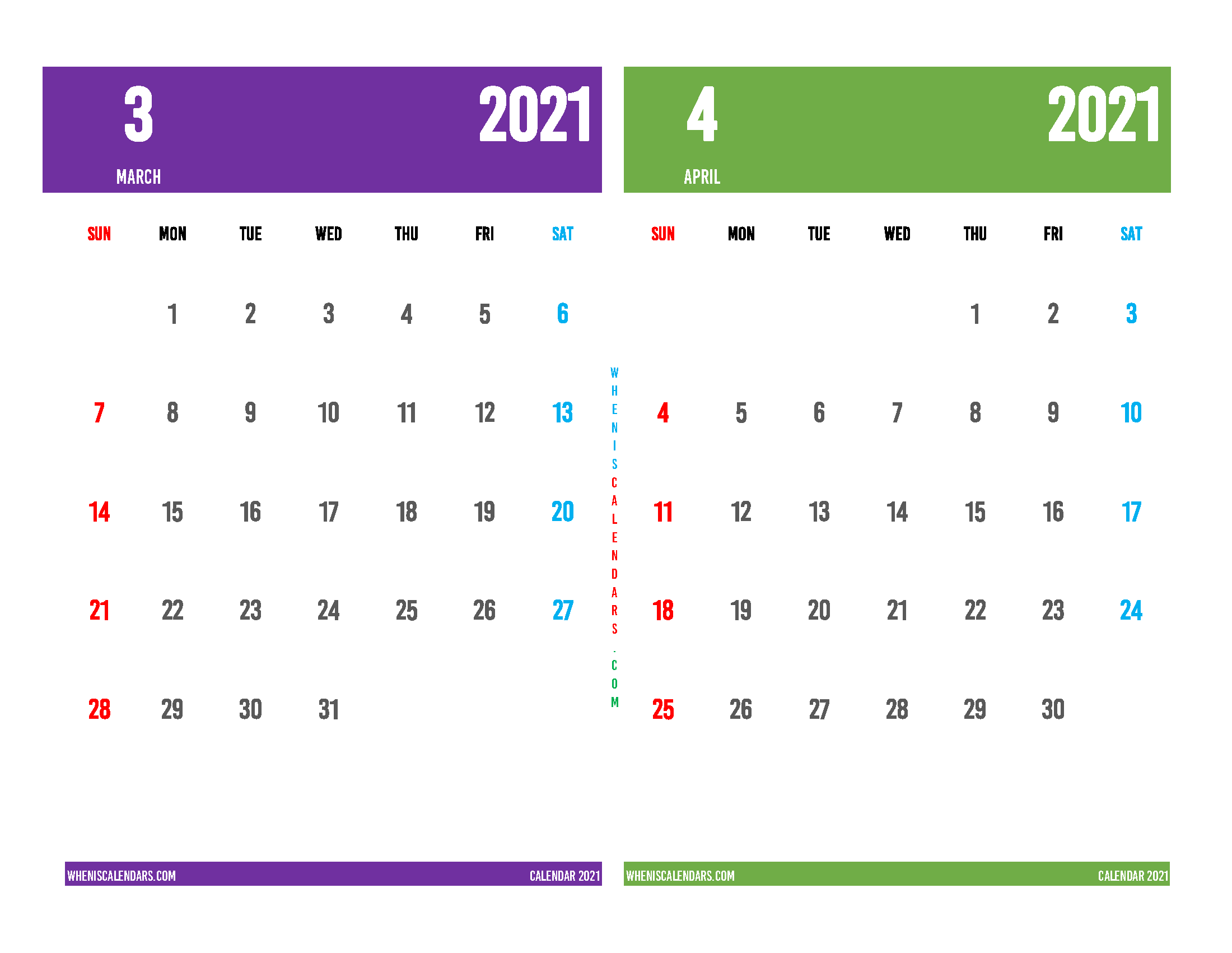 March April 2021 Calendar Printable