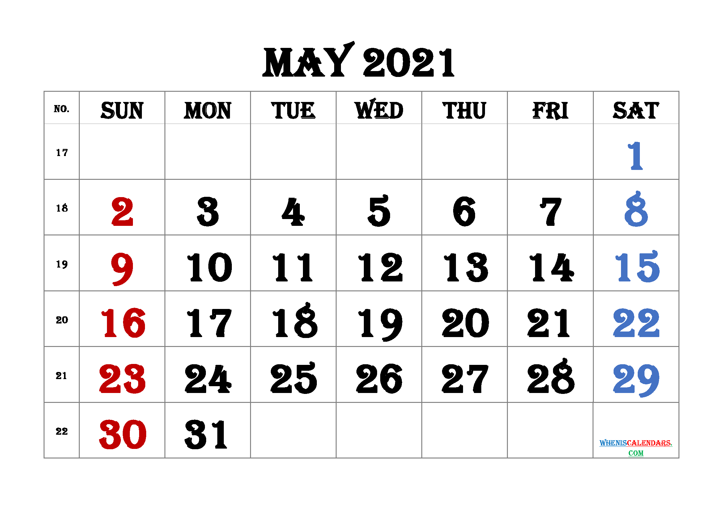 free printable may 2021 calendar with week numbers