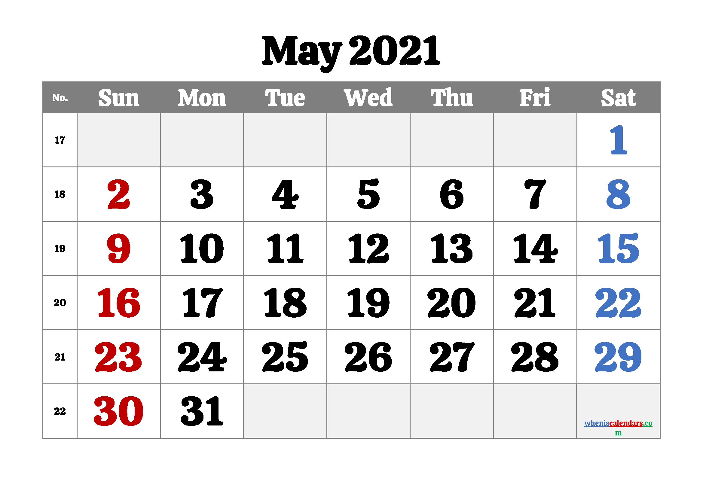 free printable may 2021 calendar with week numbers