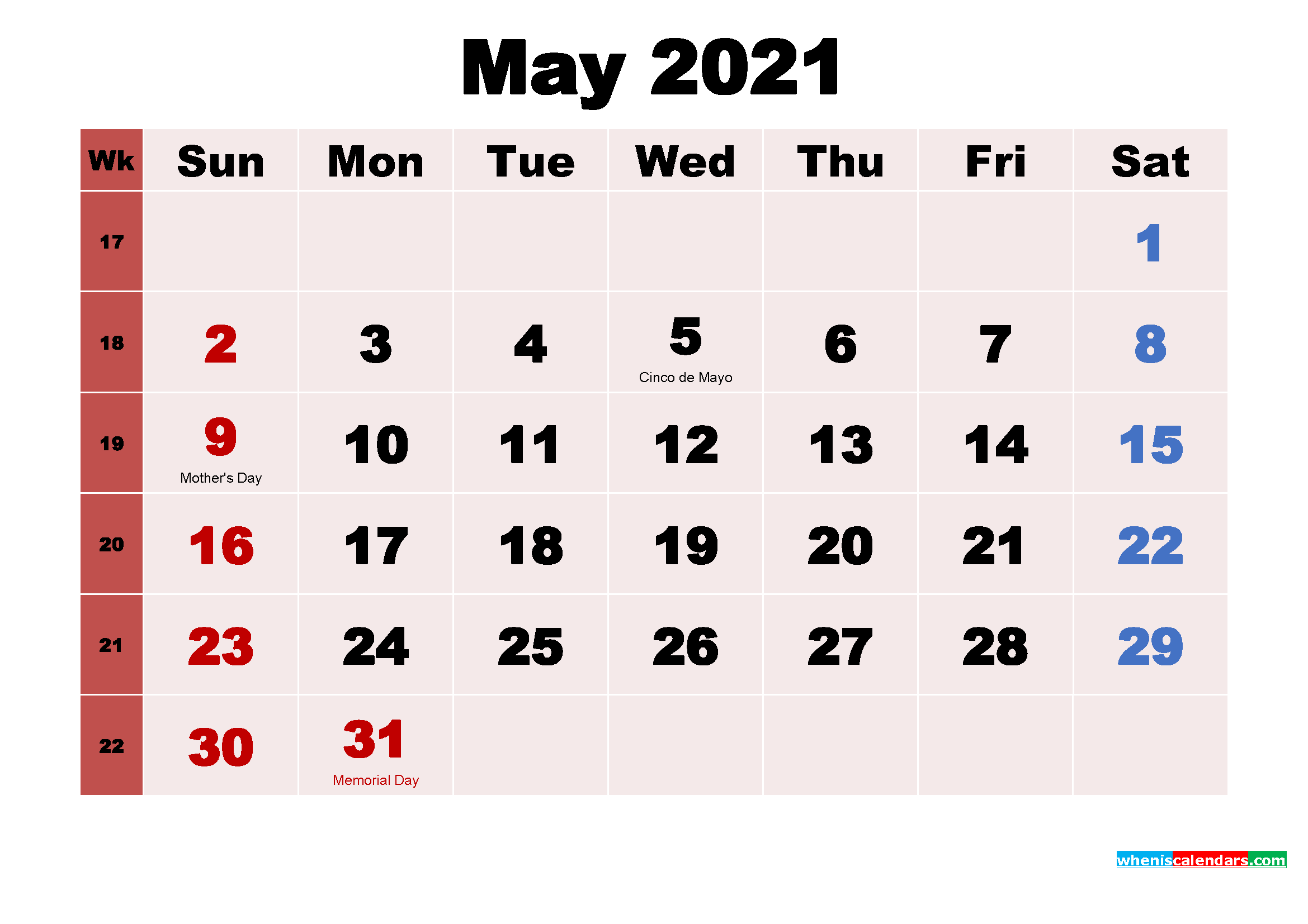 Printable Calendar for May 2021