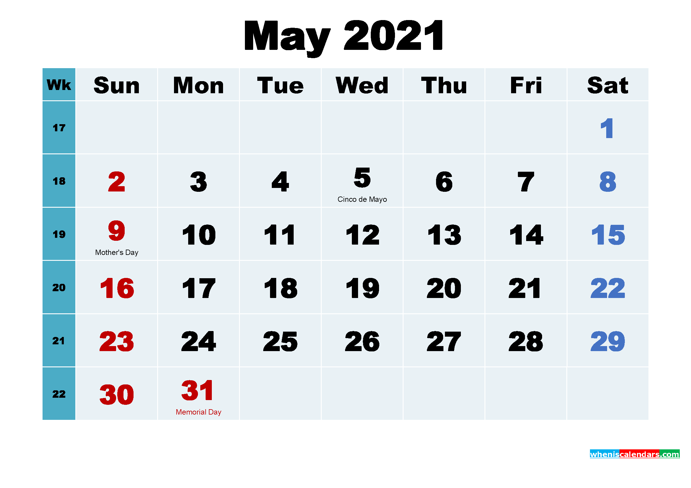 free printable may 2021 calendar with holidays