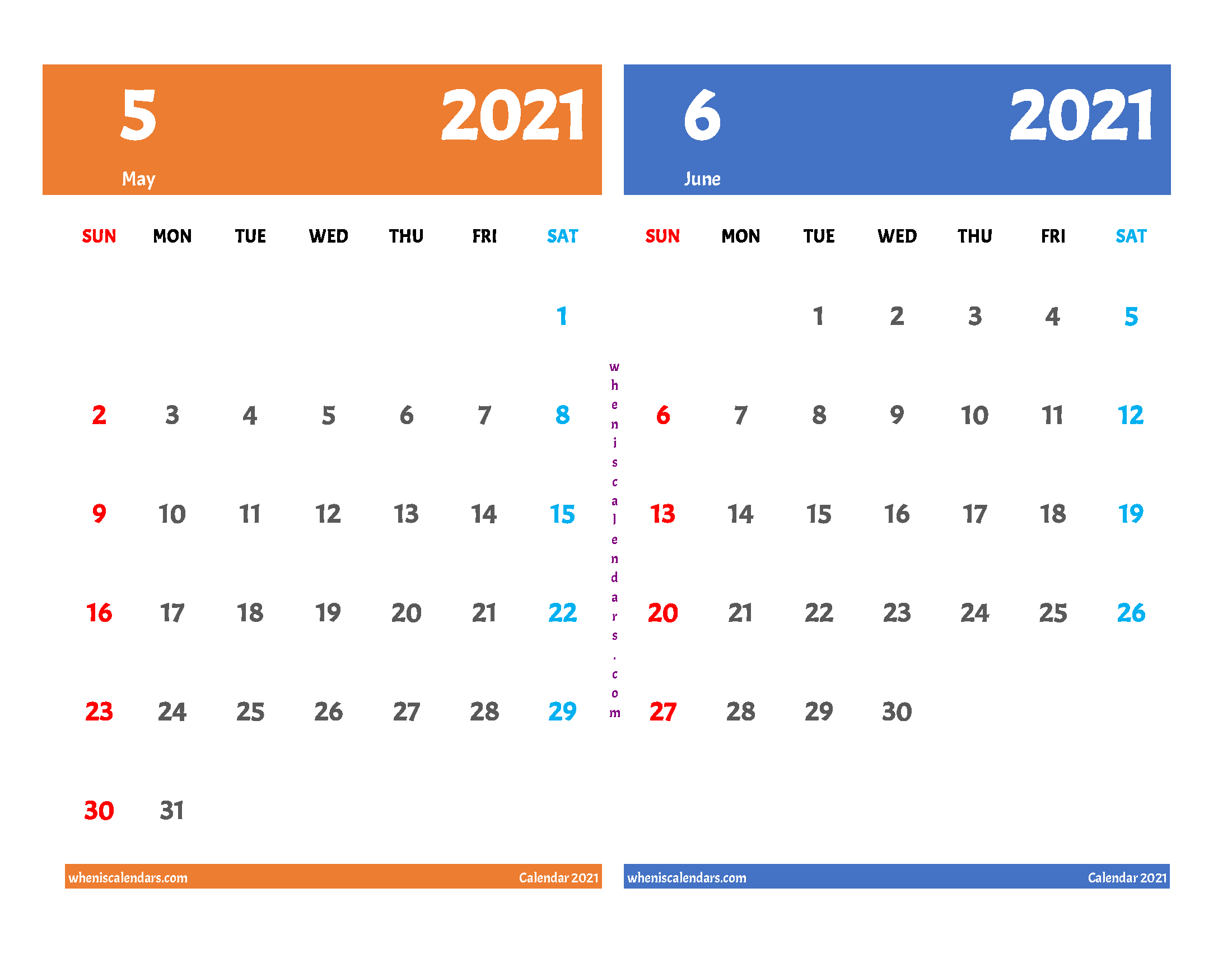 Printable Calendar May June 2021