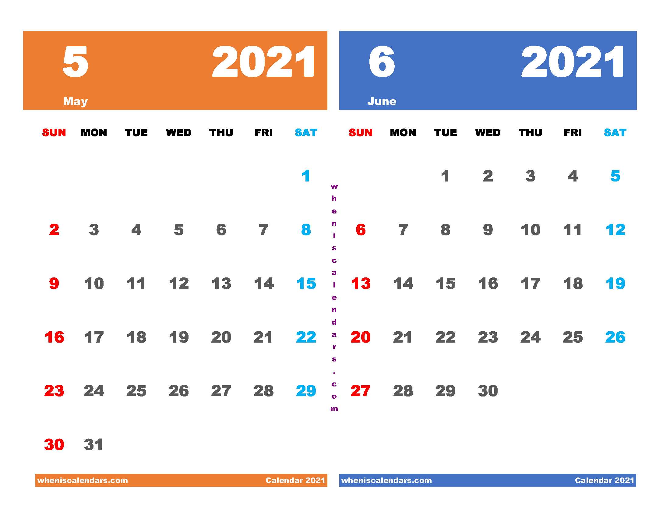 Printable Calendar May and June 2021