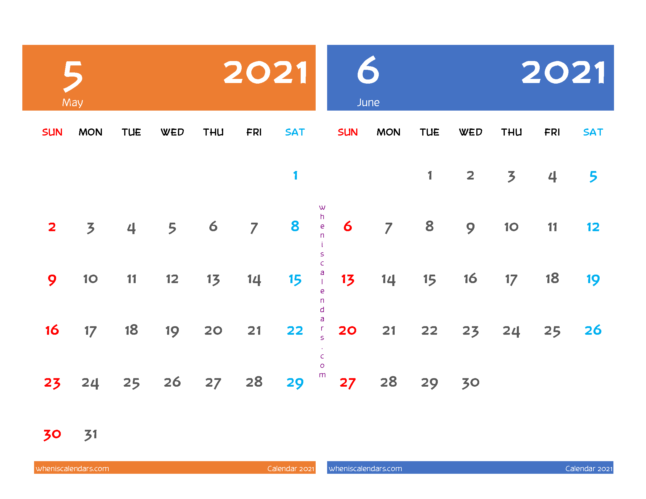 Printable Calendar May June 2021 (12 Templates)