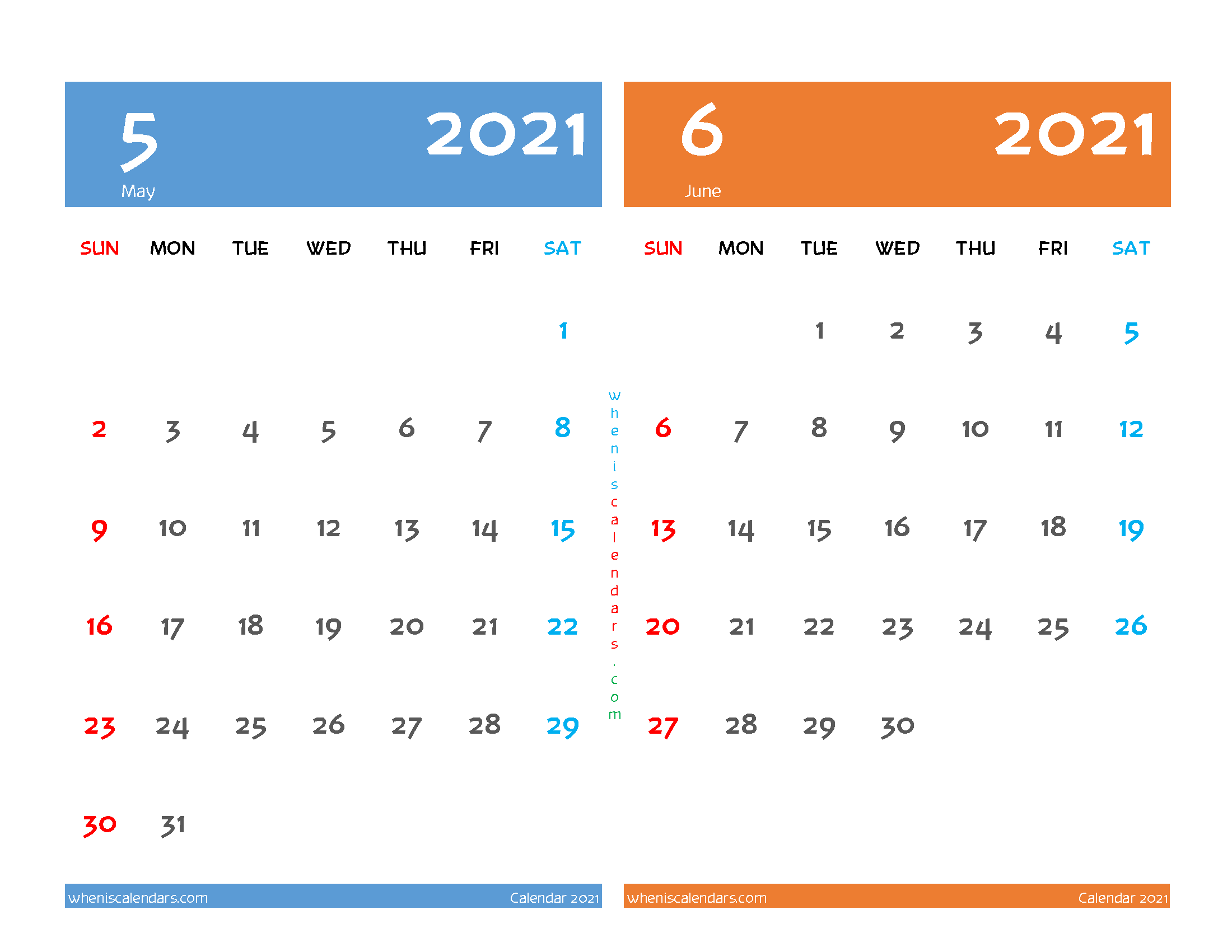 Printable Calendar 2021 May June