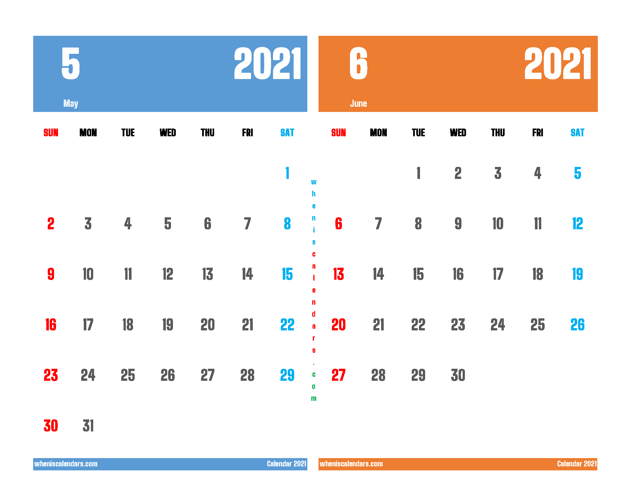 May June 2021 Calendar Printable Free