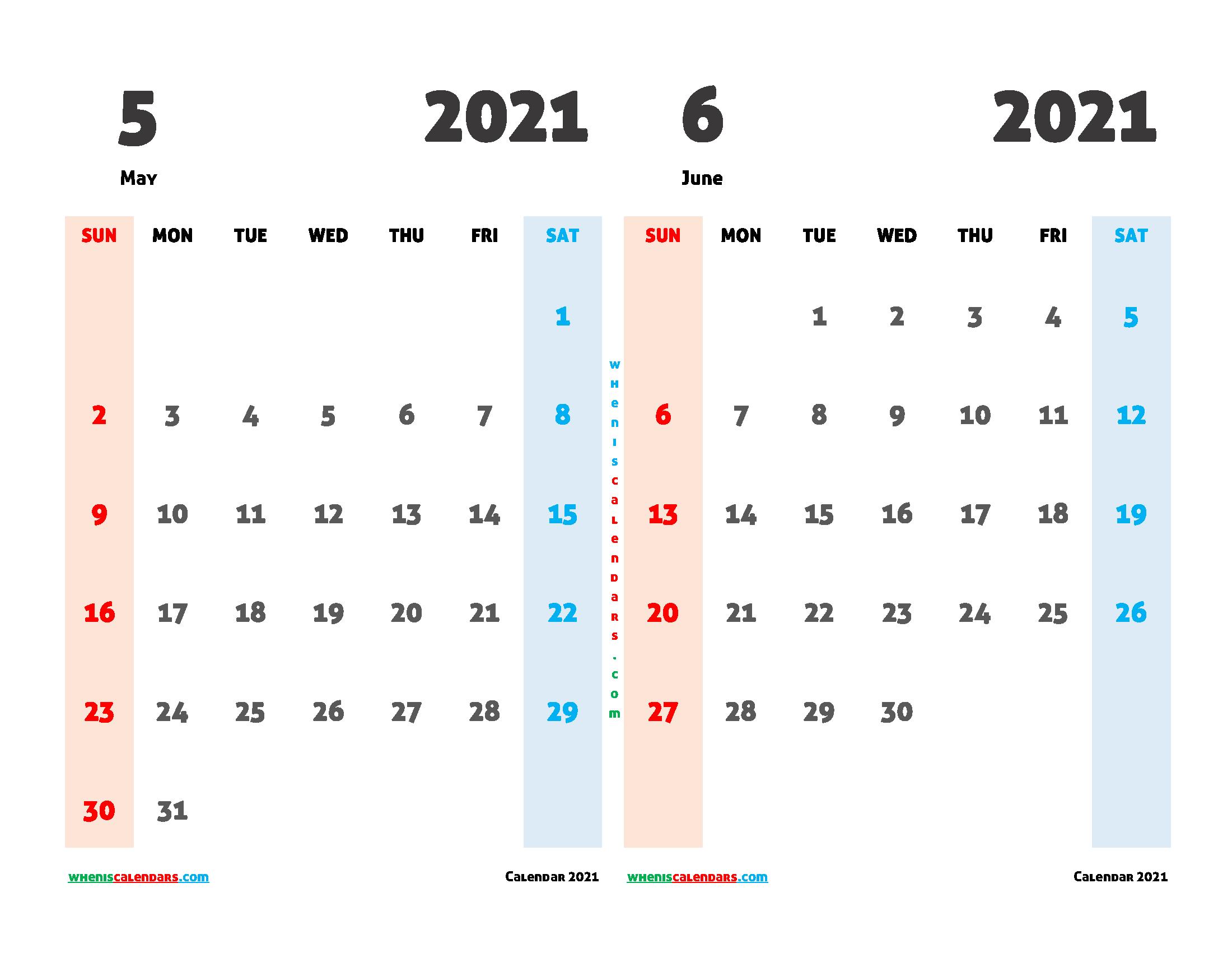 Free May and June 2021 Printable Calendar