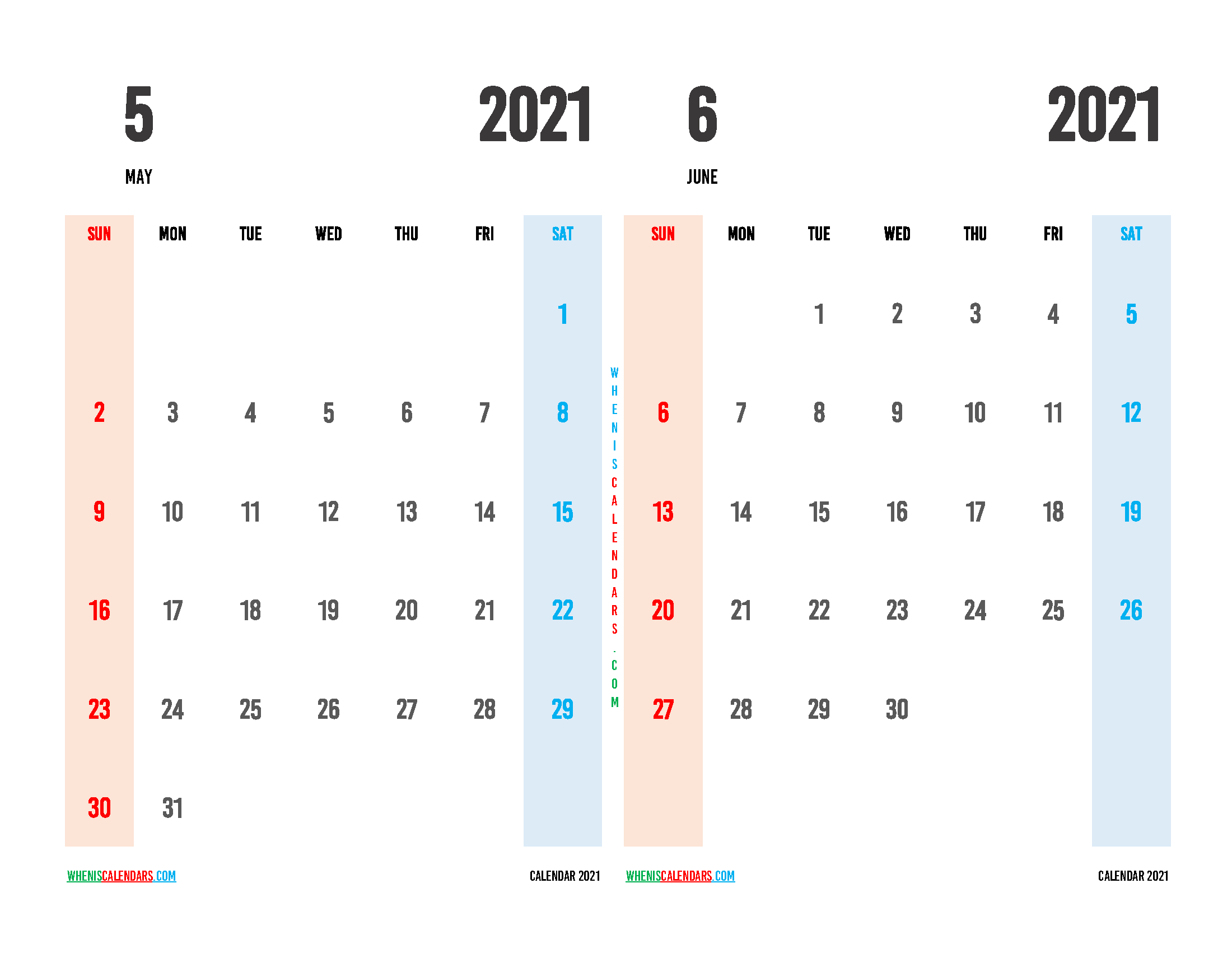 Free May June 2021 Printable Calendar