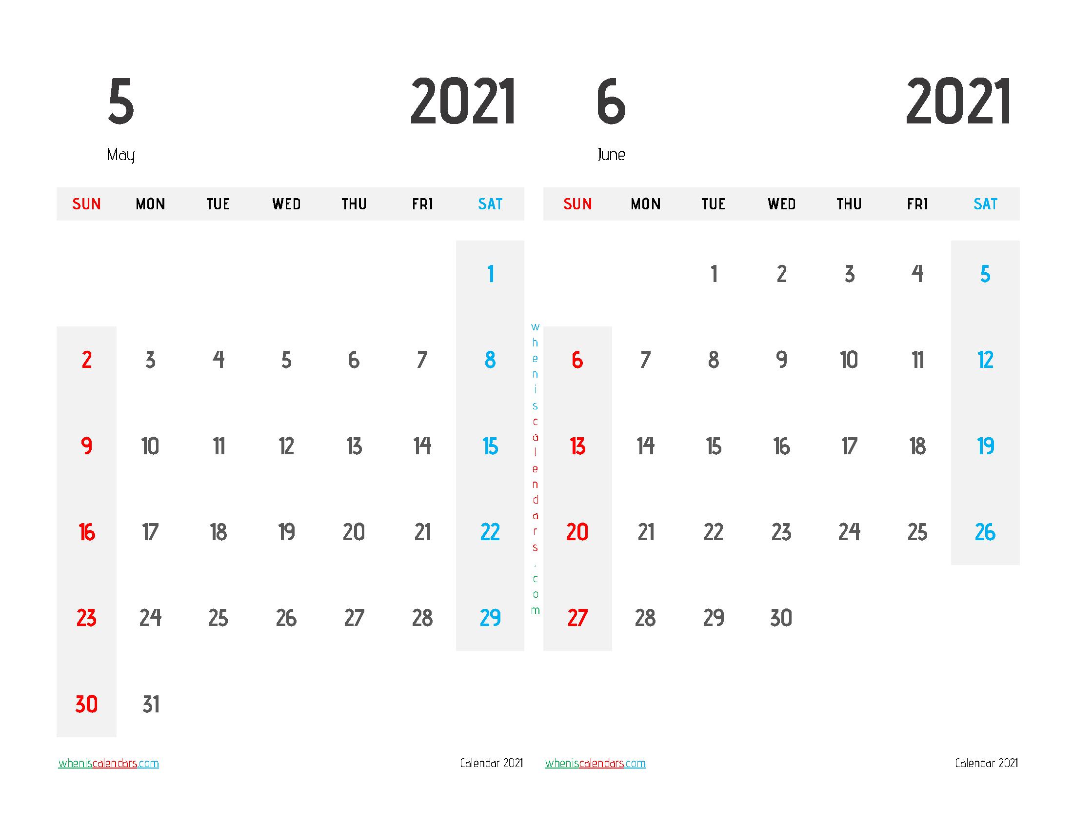 Free May and June 2021 Calendar Printable