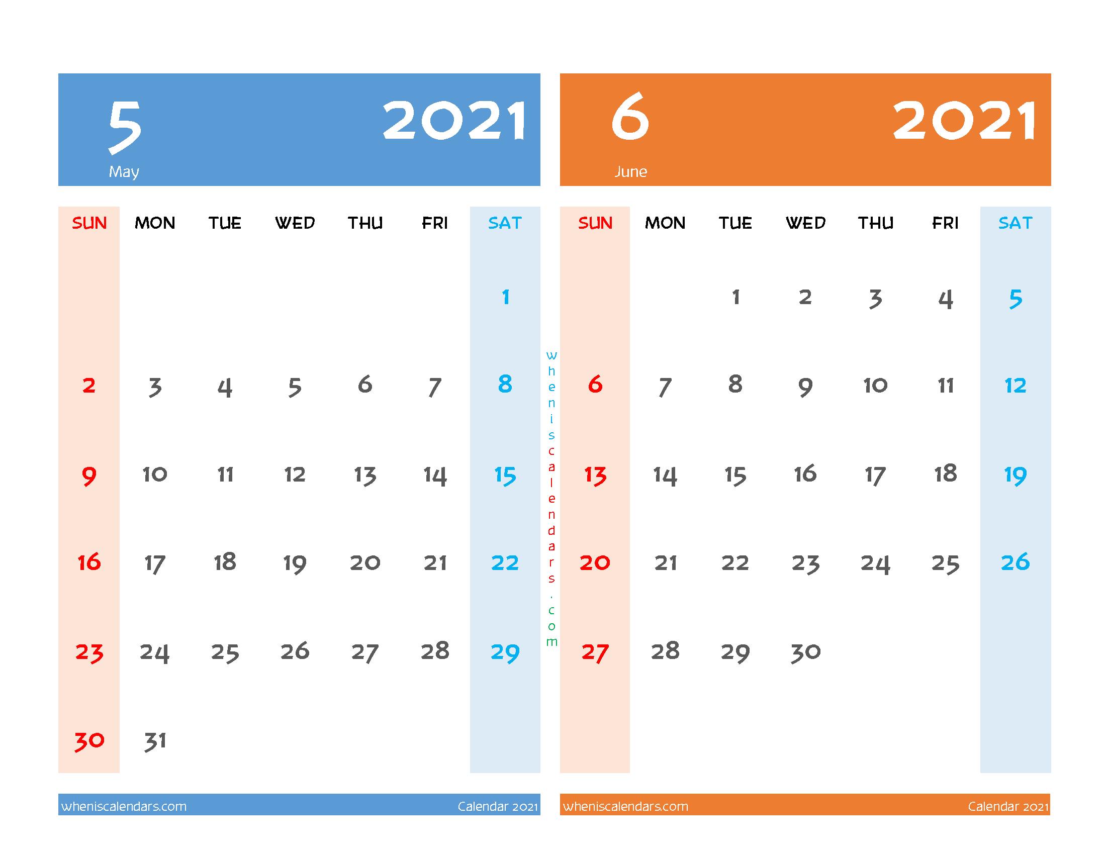 May and June 2021 Calendar Printable