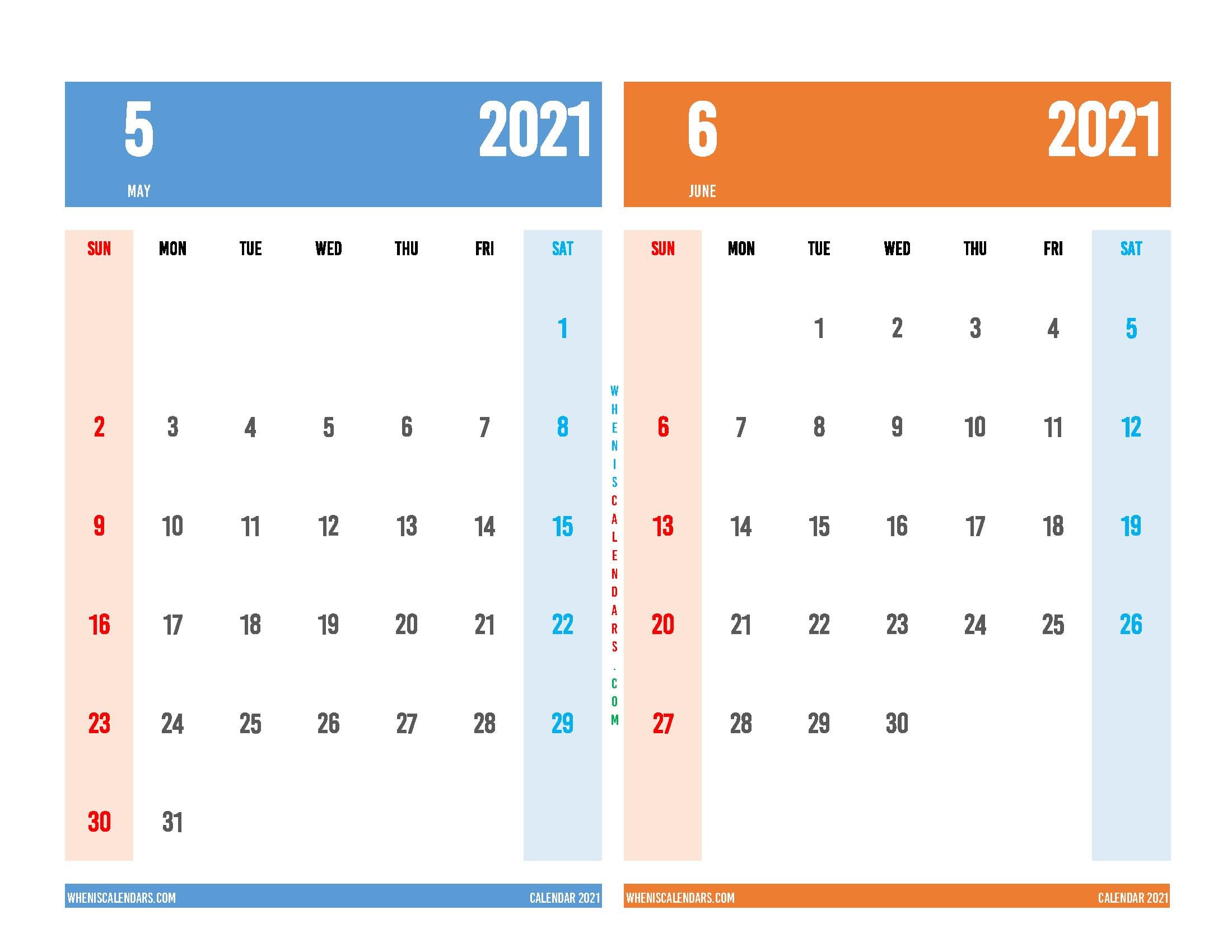 Printable May and June 2021 Calendar