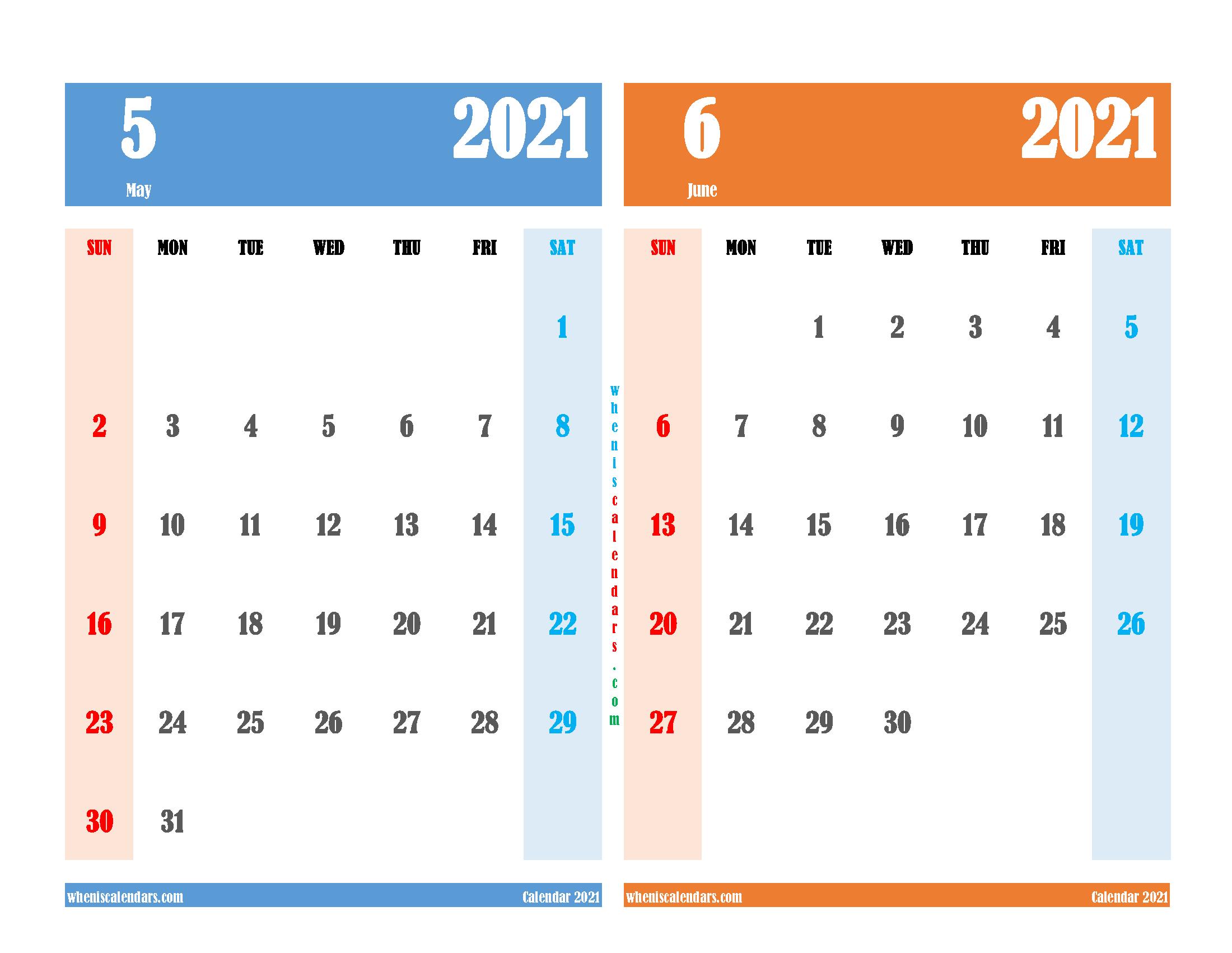 Printable Calendar May and June 2021