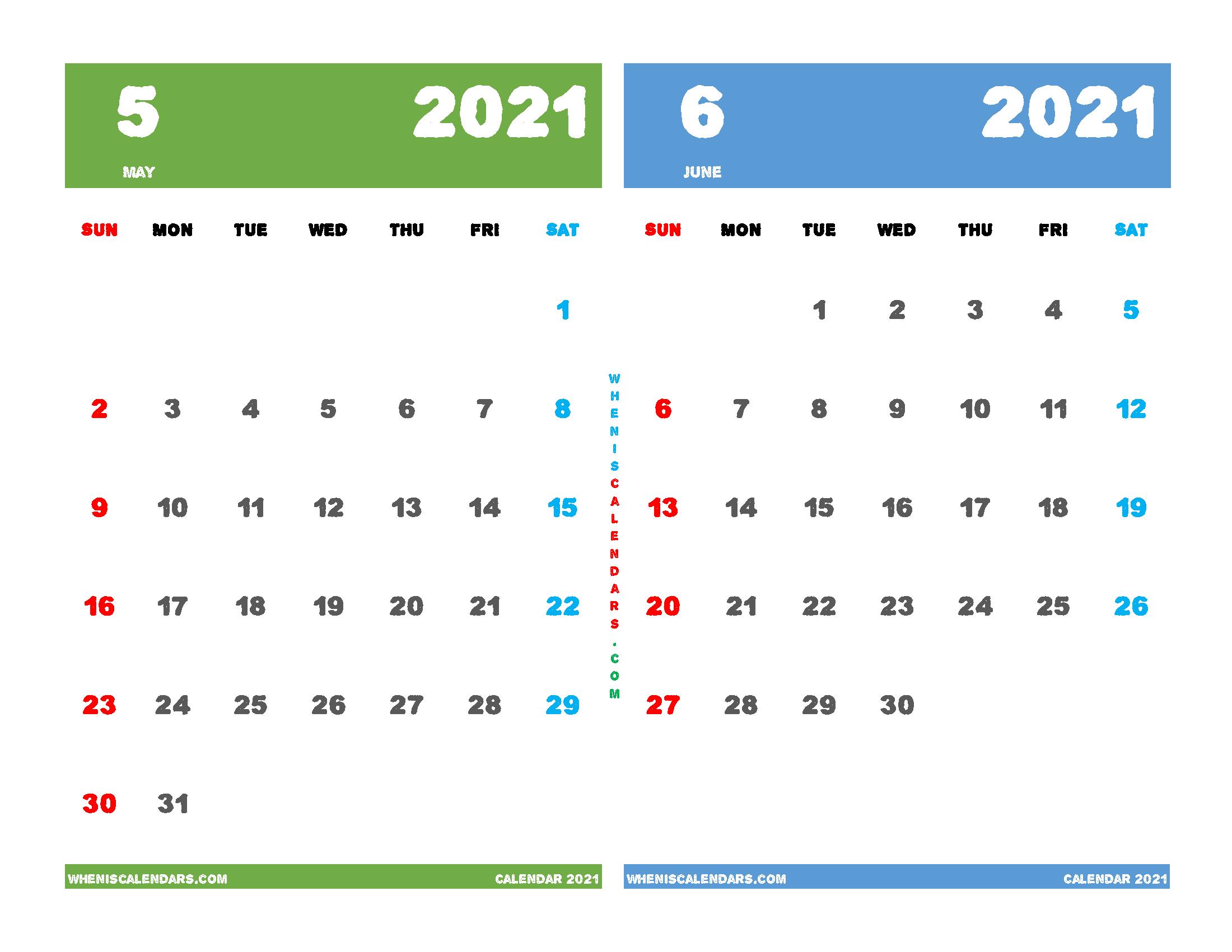 Printable Calendar 2021 May June