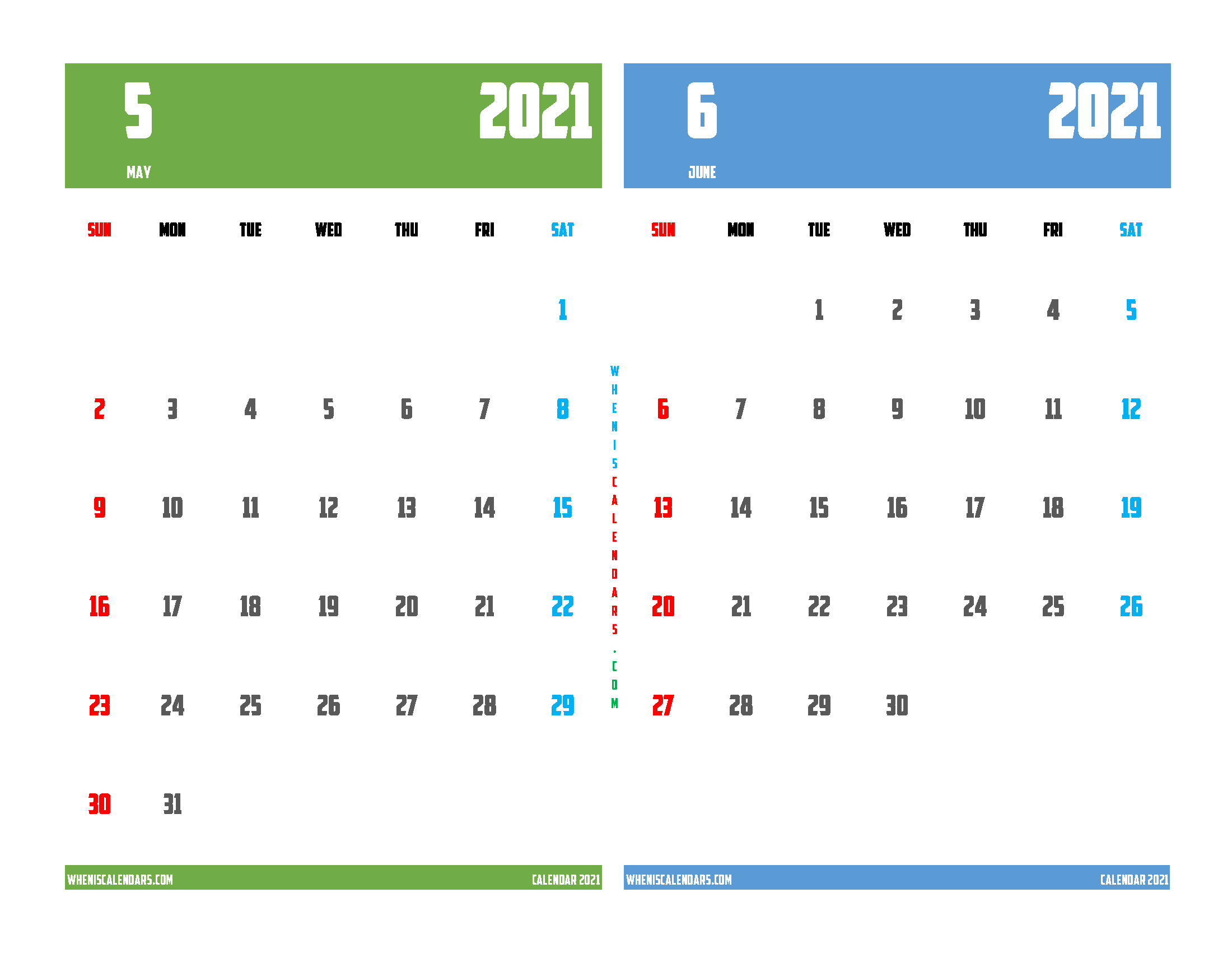 Free May June 2021 Calendar Printable