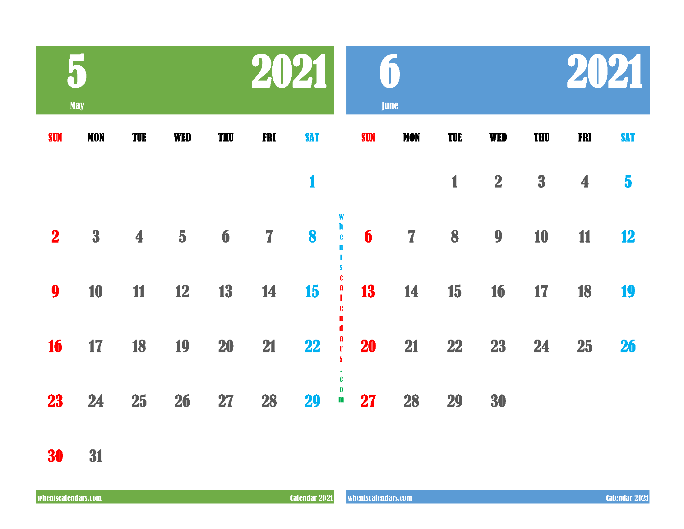 Printable Calendar 2021 May and June