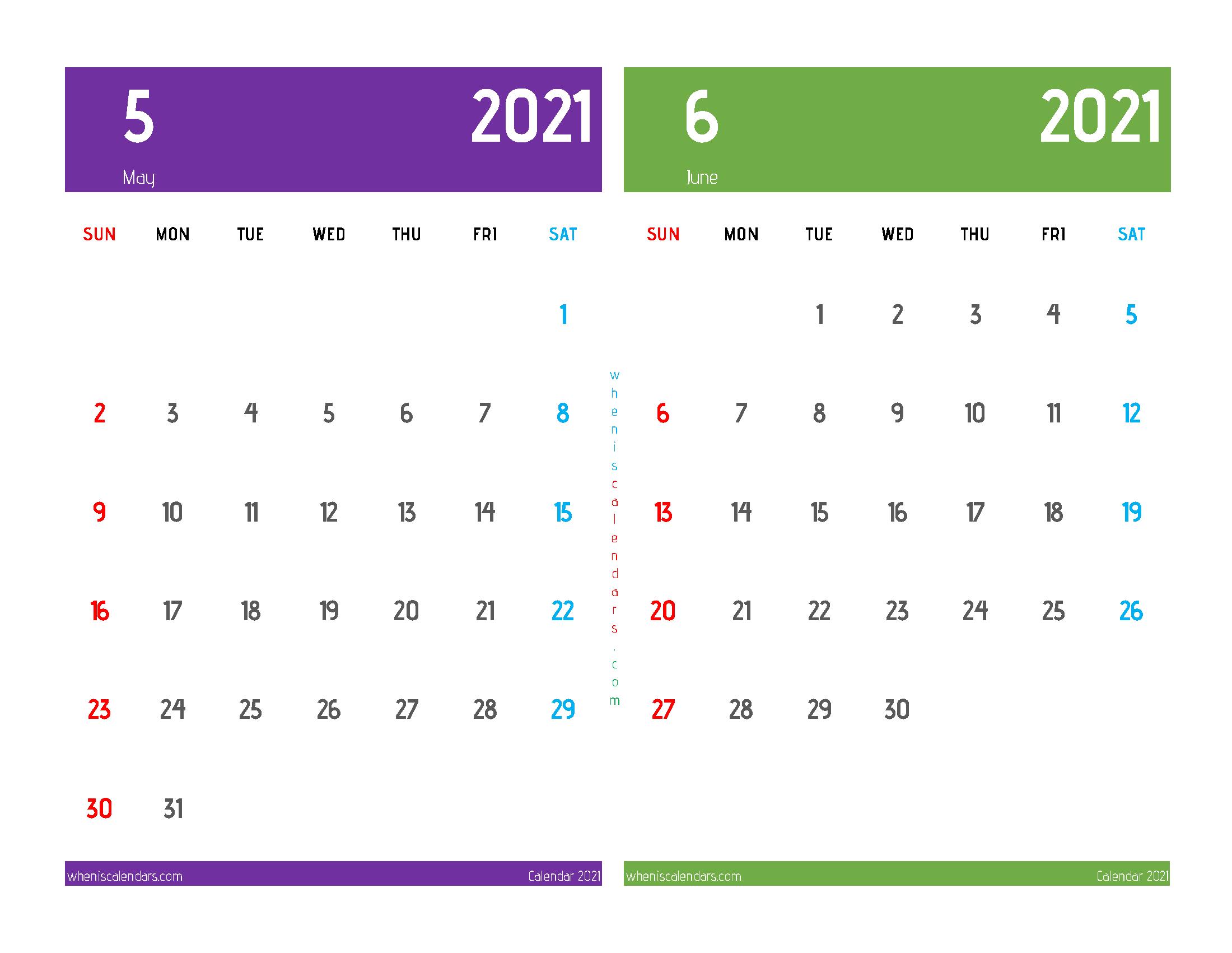 Printable May June 2021 Calendar