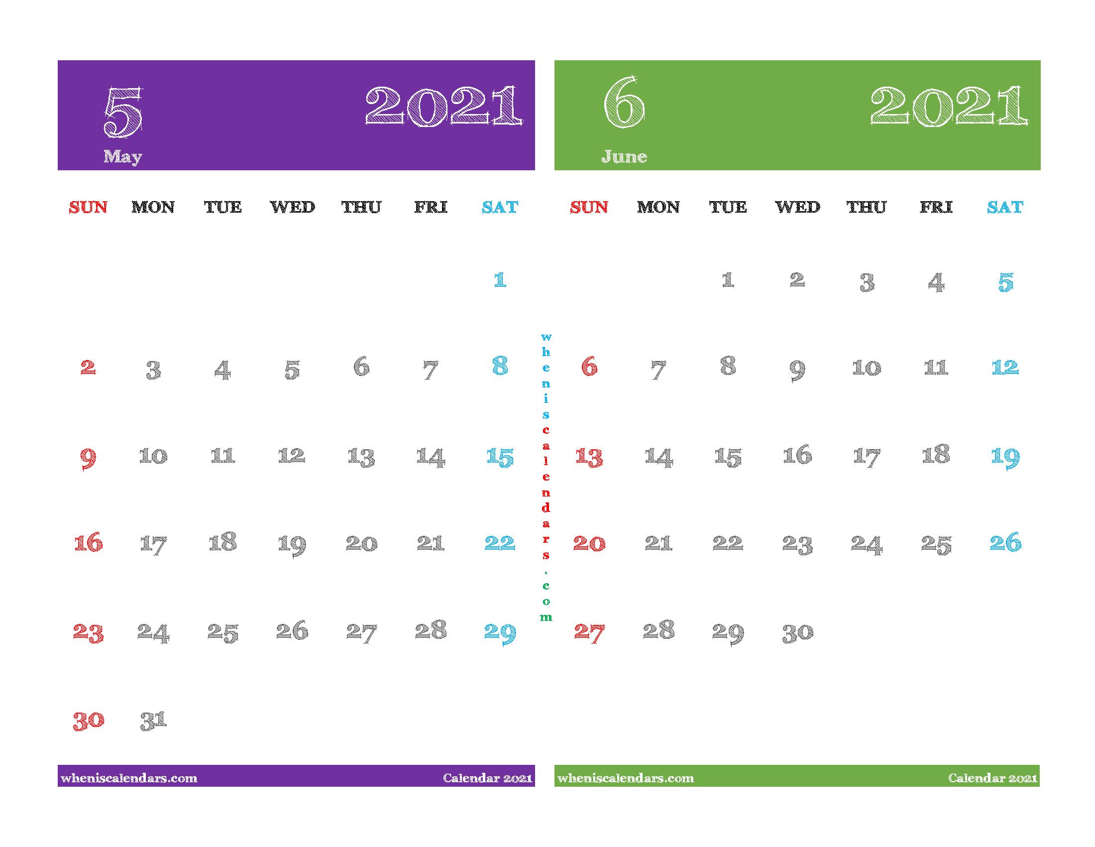 May June 2021 Calendar Printable Free
